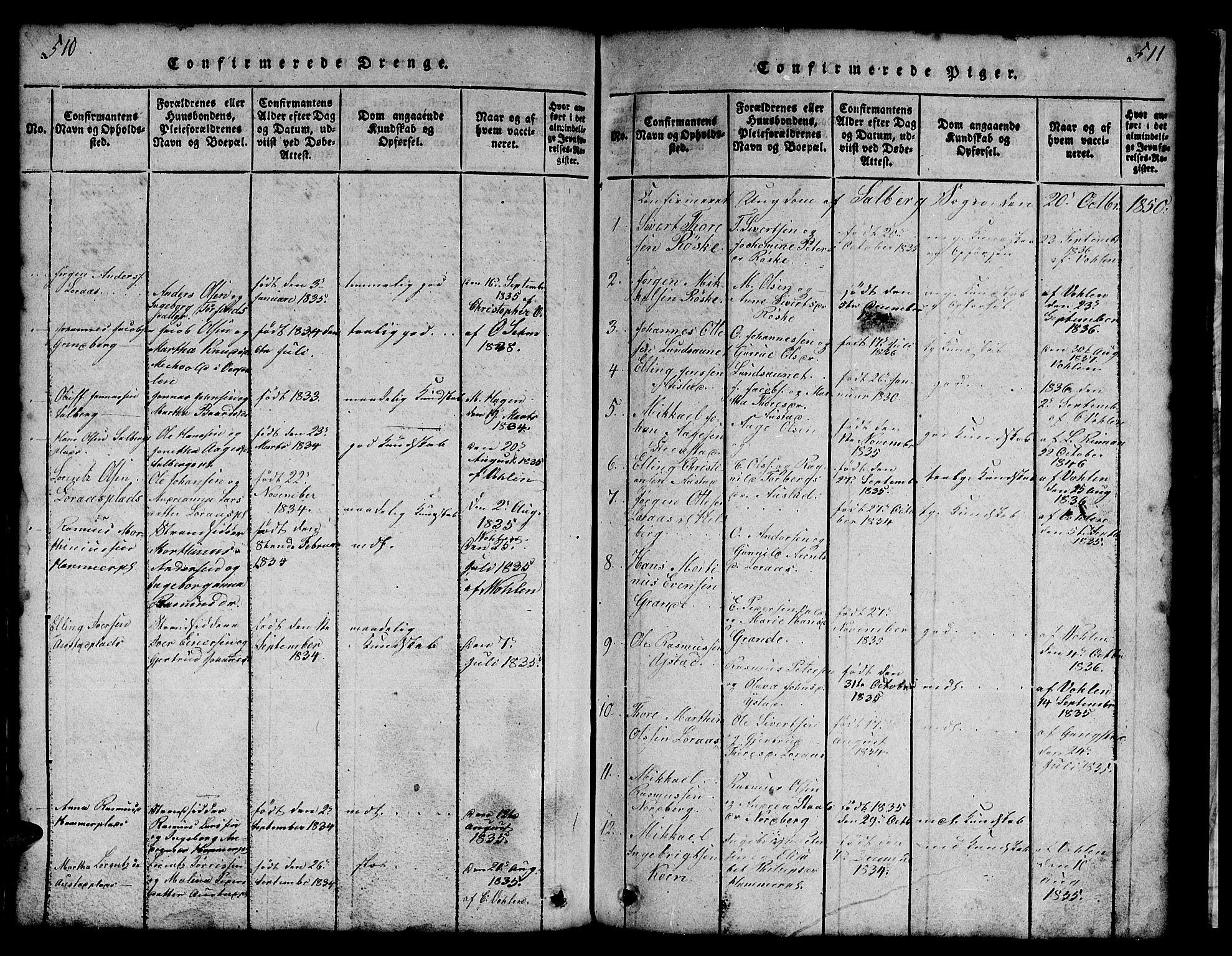 SAT, Ministerialprotokoller, klokkerbøker og fødselsregistre - Nord-Trøndelag, 731/L0310: Klokkerbok nr. 731C01, 1816-1874, s. 510-511