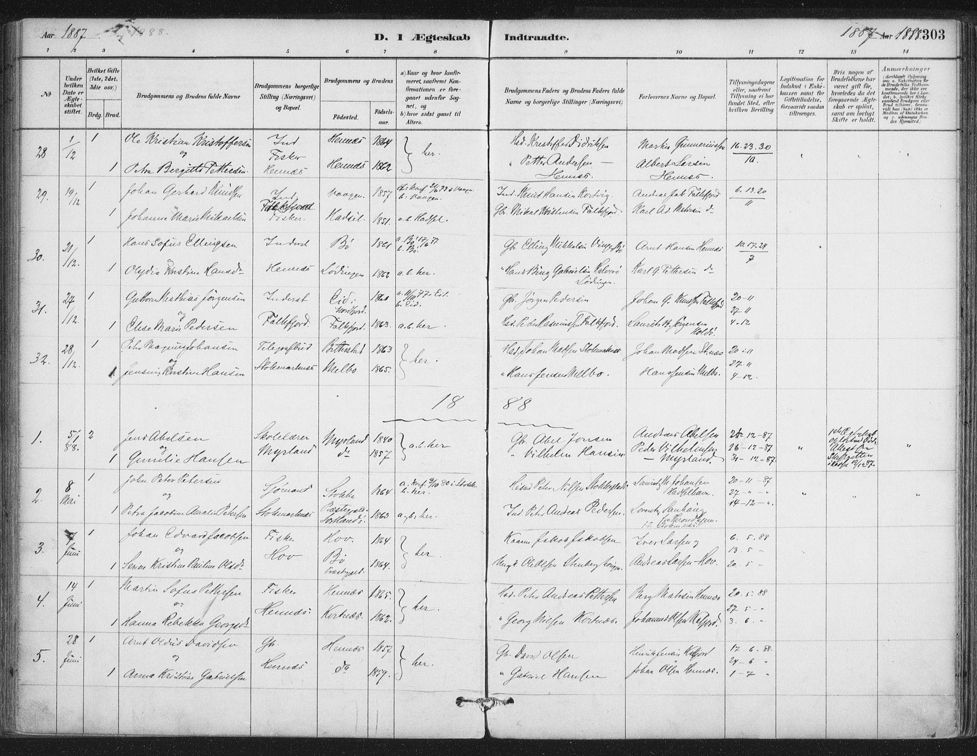 SAT, Ministerialprotokoller, klokkerbøker og fødselsregistre - Nordland, 888/L1244: Ministerialbok nr. 888A10, 1880-1890, s. 303