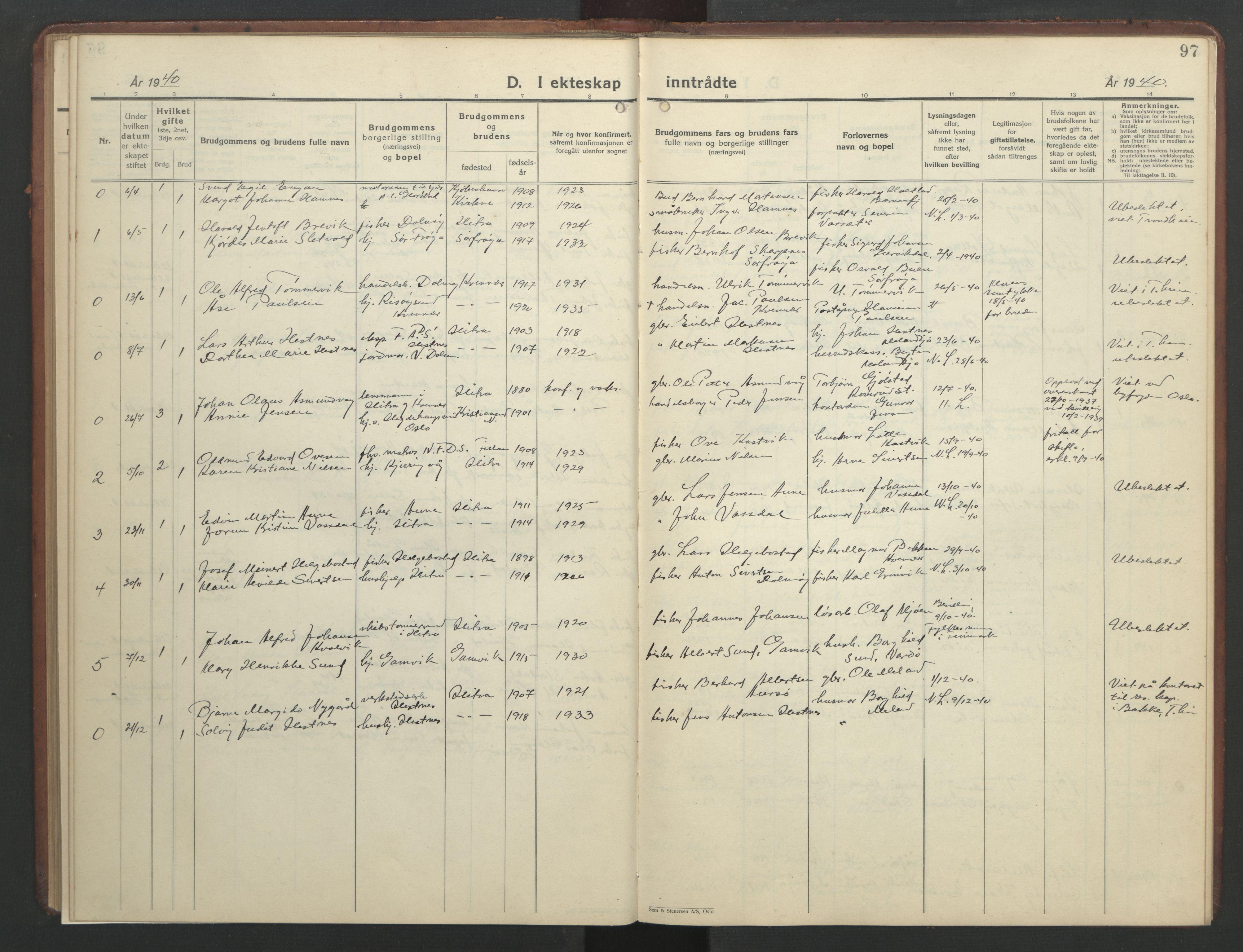 SAT, Ministerialprotokoller, klokkerbøker og fødselsregistre - Sør-Trøndelag, 634/L0544: Klokkerbok nr. 634C06, 1927-1948, s. 97