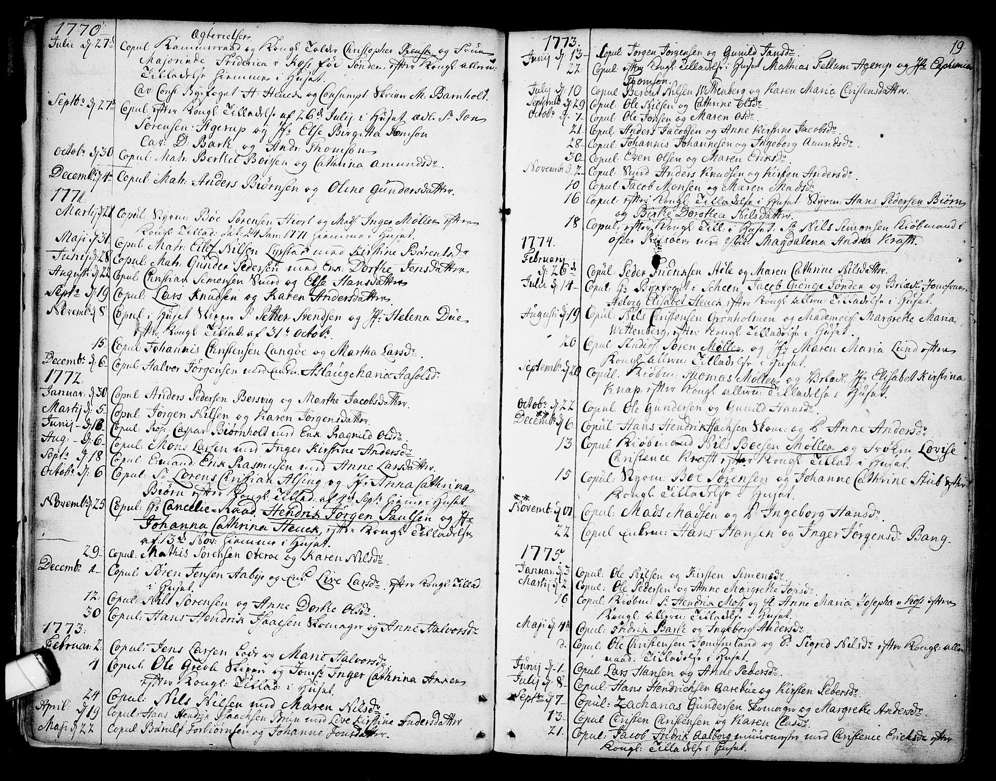 SAKO, Kragerø kirkebøker, F/Fa/L0002: Ministerialbok nr. 2, 1767-1802, s. 19