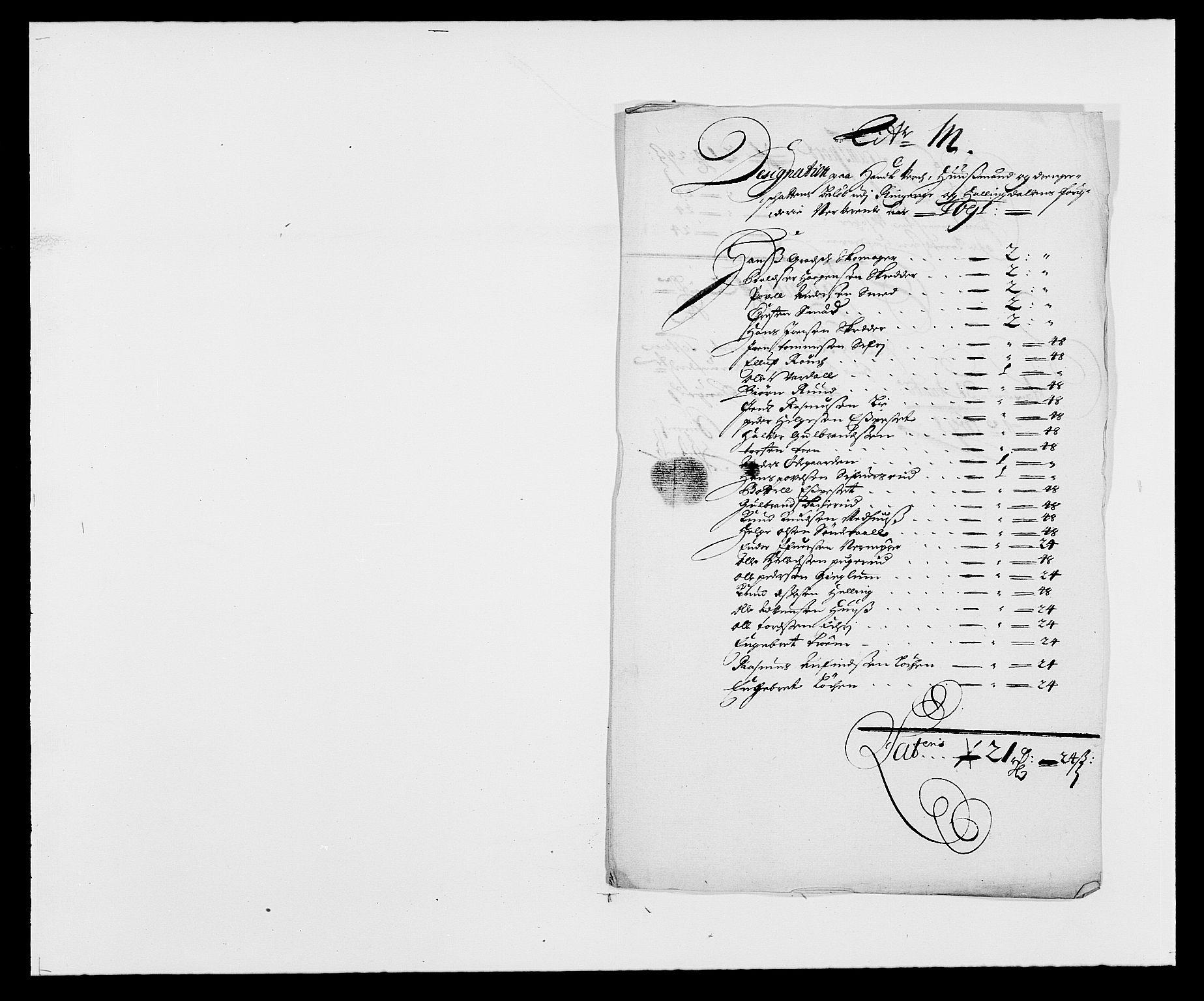 RA, Rentekammeret inntil 1814, Reviderte regnskaper, Fogderegnskap, R21/L1448: Fogderegnskap Ringerike og Hallingdal, 1690-1692, s. 276