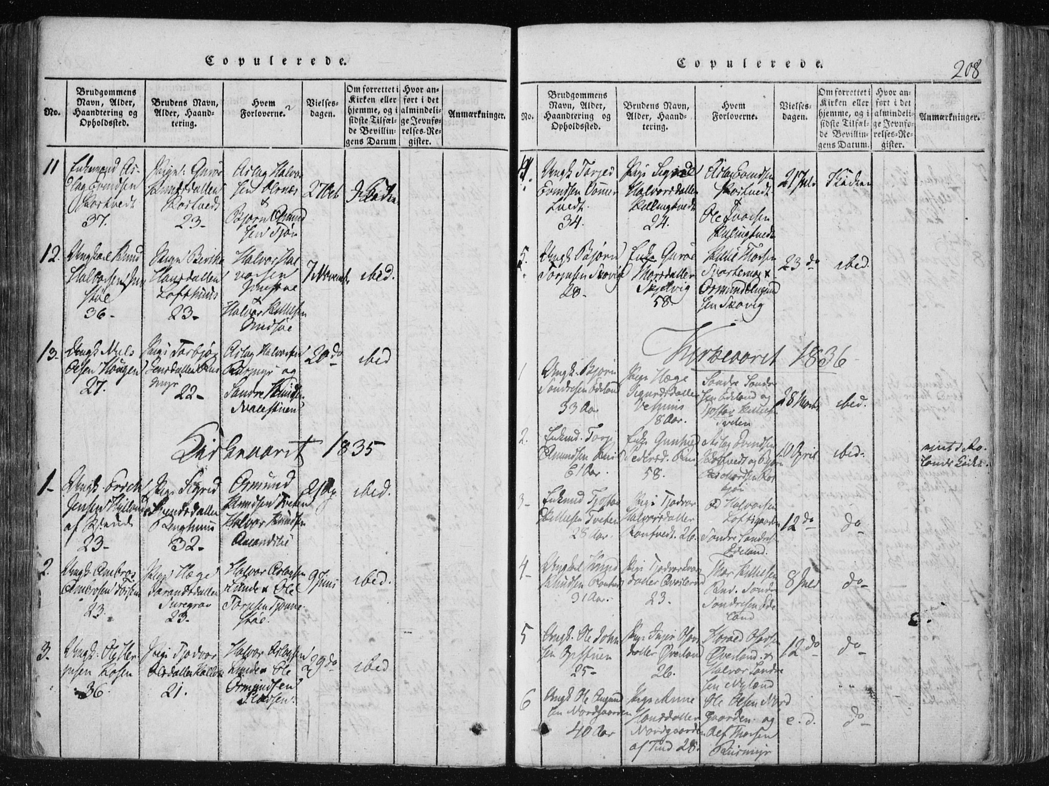 SAKO, Vinje kirkebøker, F/Fa/L0003: Ministerialbok nr. I 3, 1814-1843, s. 208