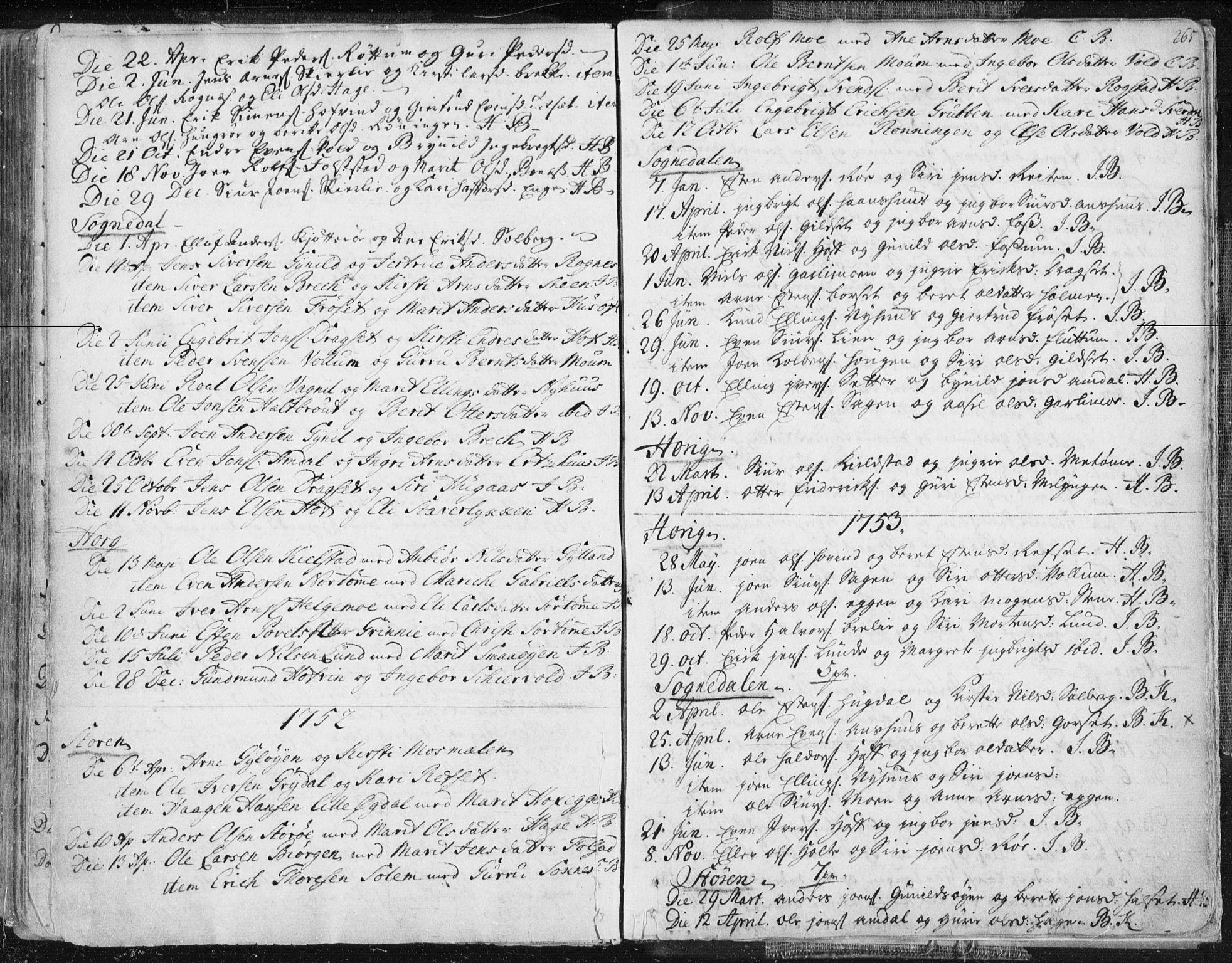 SAT, Ministerialprotokoller, klokkerbøker og fødselsregistre - Sør-Trøndelag, 687/L0991: Ministerialbok nr. 687A02, 1747-1790, s. 265
