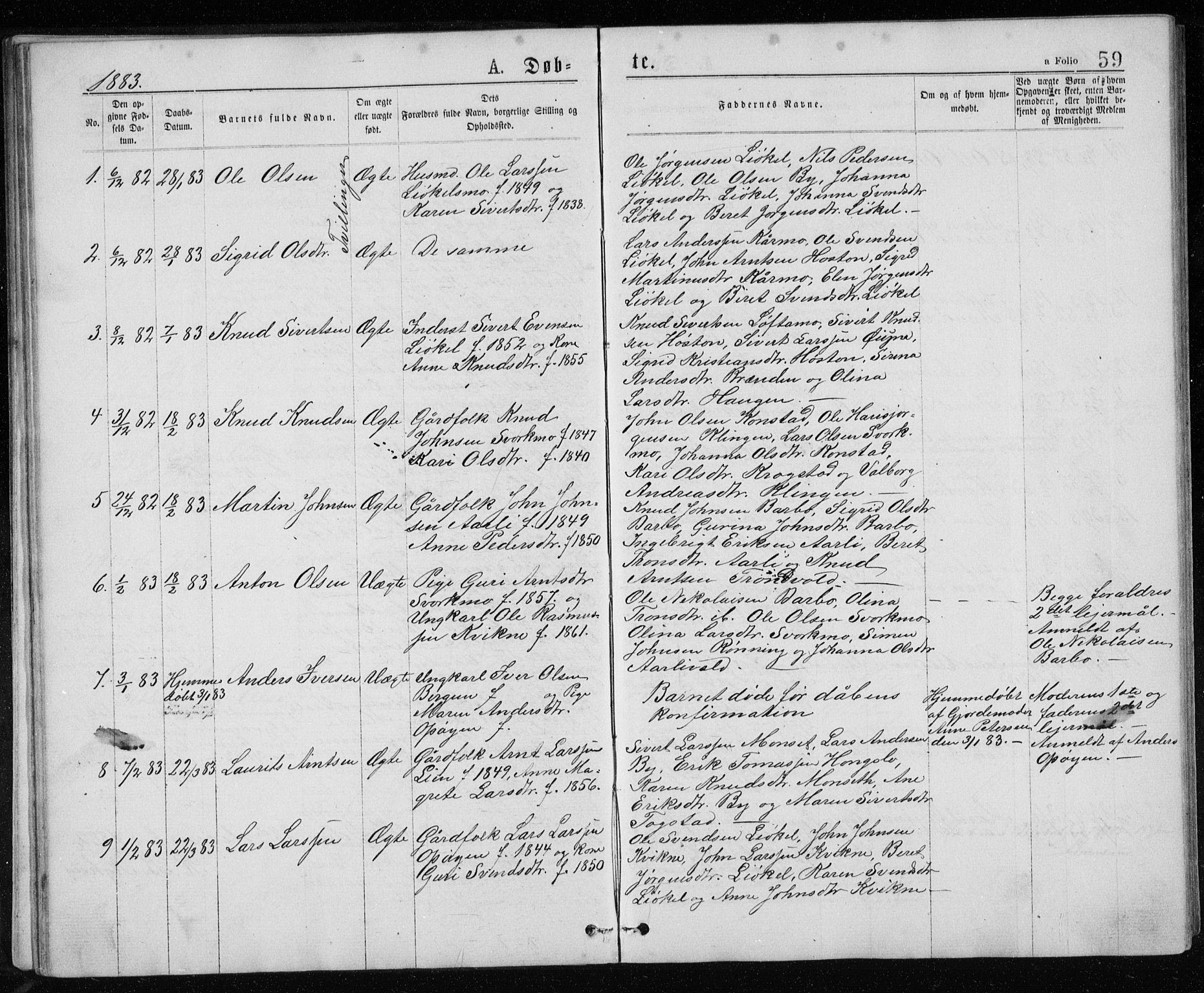 SAT, Ministerialprotokoller, klokkerbøker og fødselsregistre - Sør-Trøndelag, 671/L0843: Klokkerbok nr. 671C02, 1873-1892, s. 59