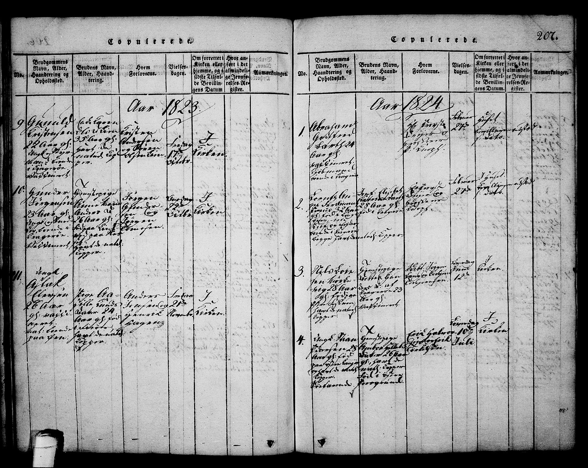 SAKO, Kragerø kirkebøker, G/Ga/L0002: Klokkerbok nr. 2, 1814-1831, s. 207