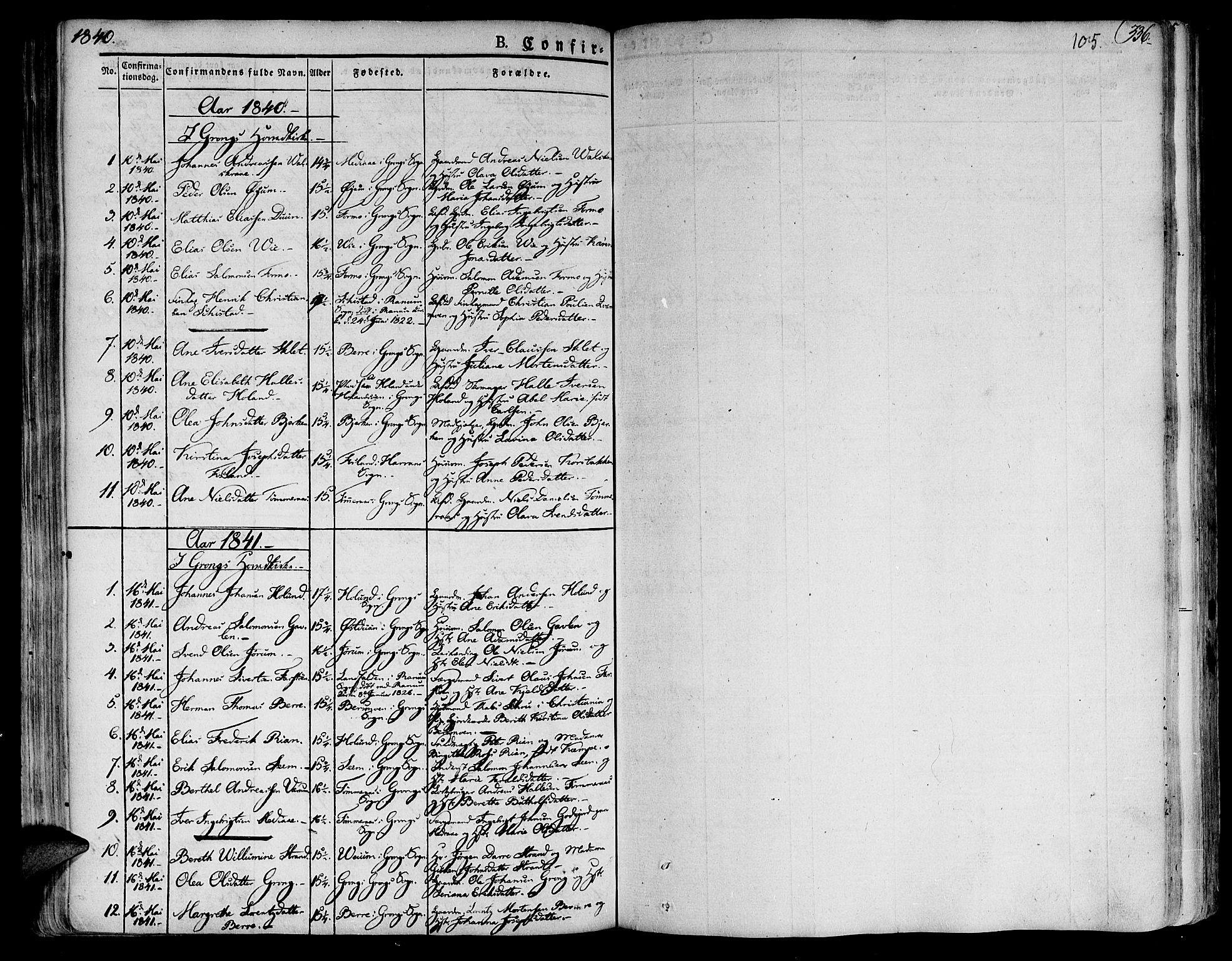 SAT, Ministerialprotokoller, klokkerbøker og fødselsregistre - Nord-Trøndelag, 758/L0510: Ministerialbok nr. 758A01 /1, 1821-1841, s. 105