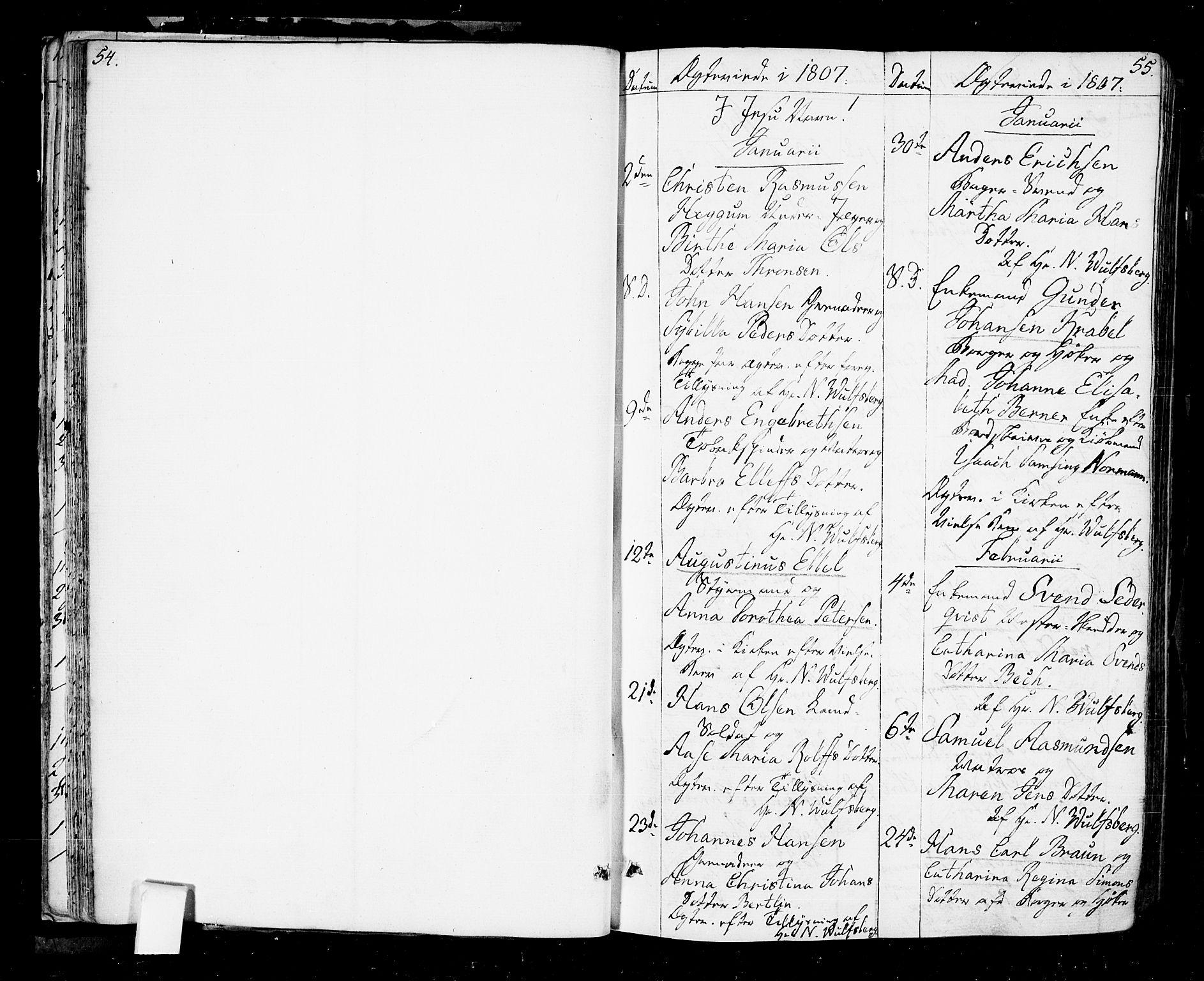 SAO, Oslo domkirke Kirkebøker, F/Fa/L0006: Ministerialbok nr. 6, 1807-1817, s. 54-55