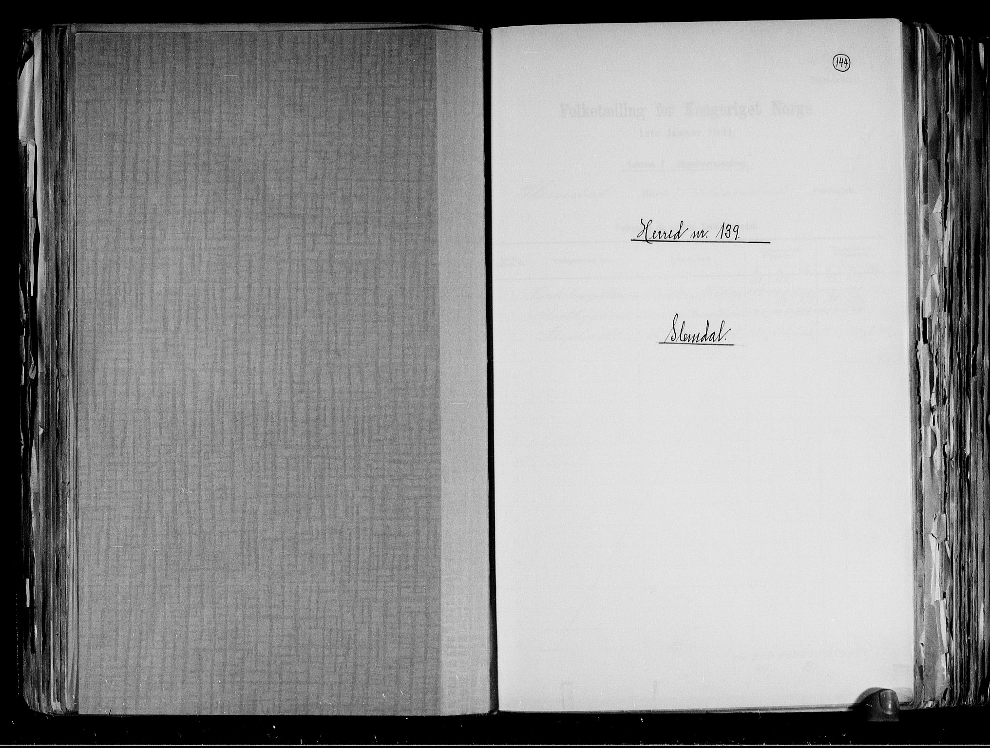 RA, Folketelling 1891 for 0811 Slemdal herred, 1891, s. 1