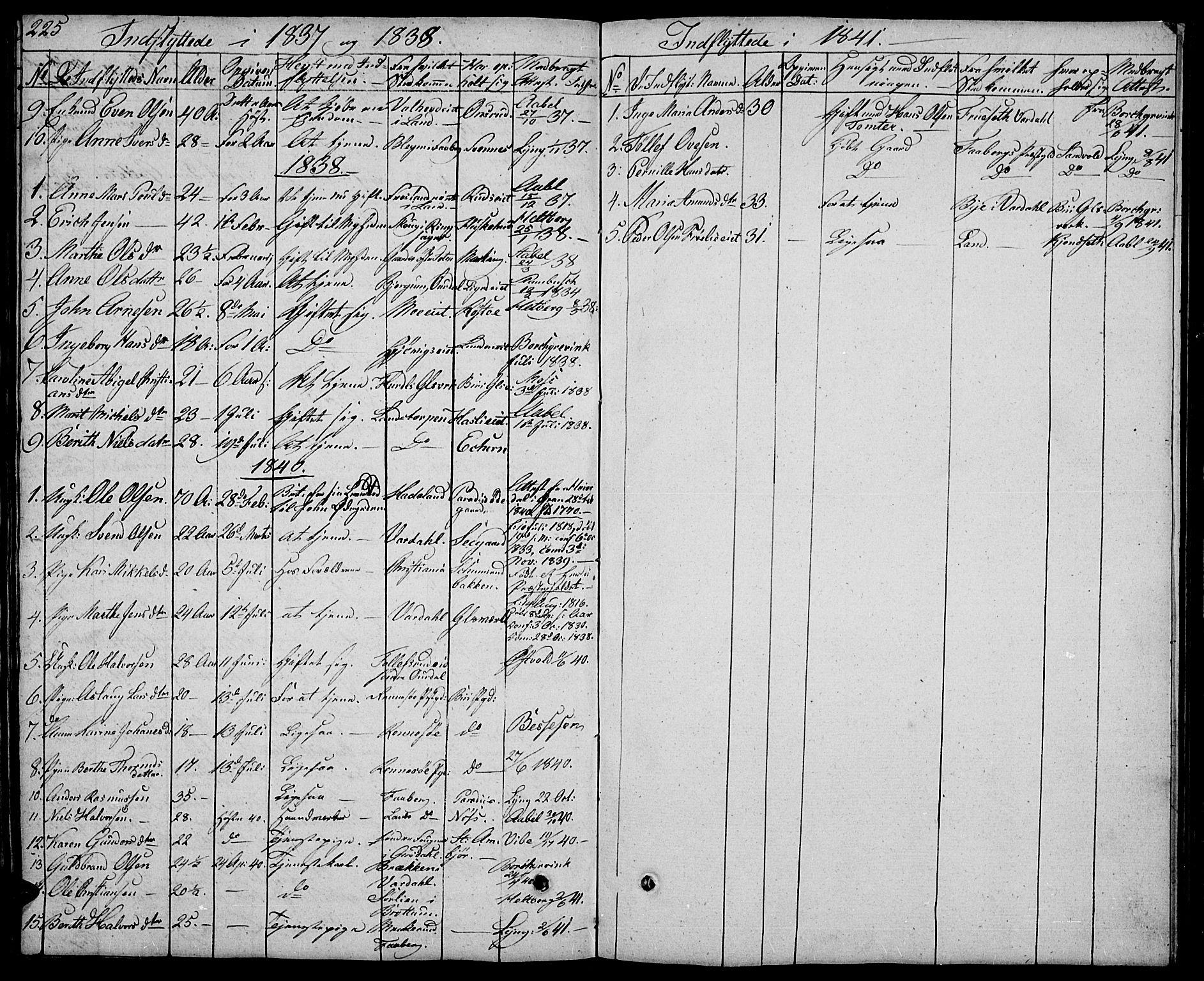 SAH, Biri prestekontor, Klokkerbok nr. 2, 1828-1842, s. 225