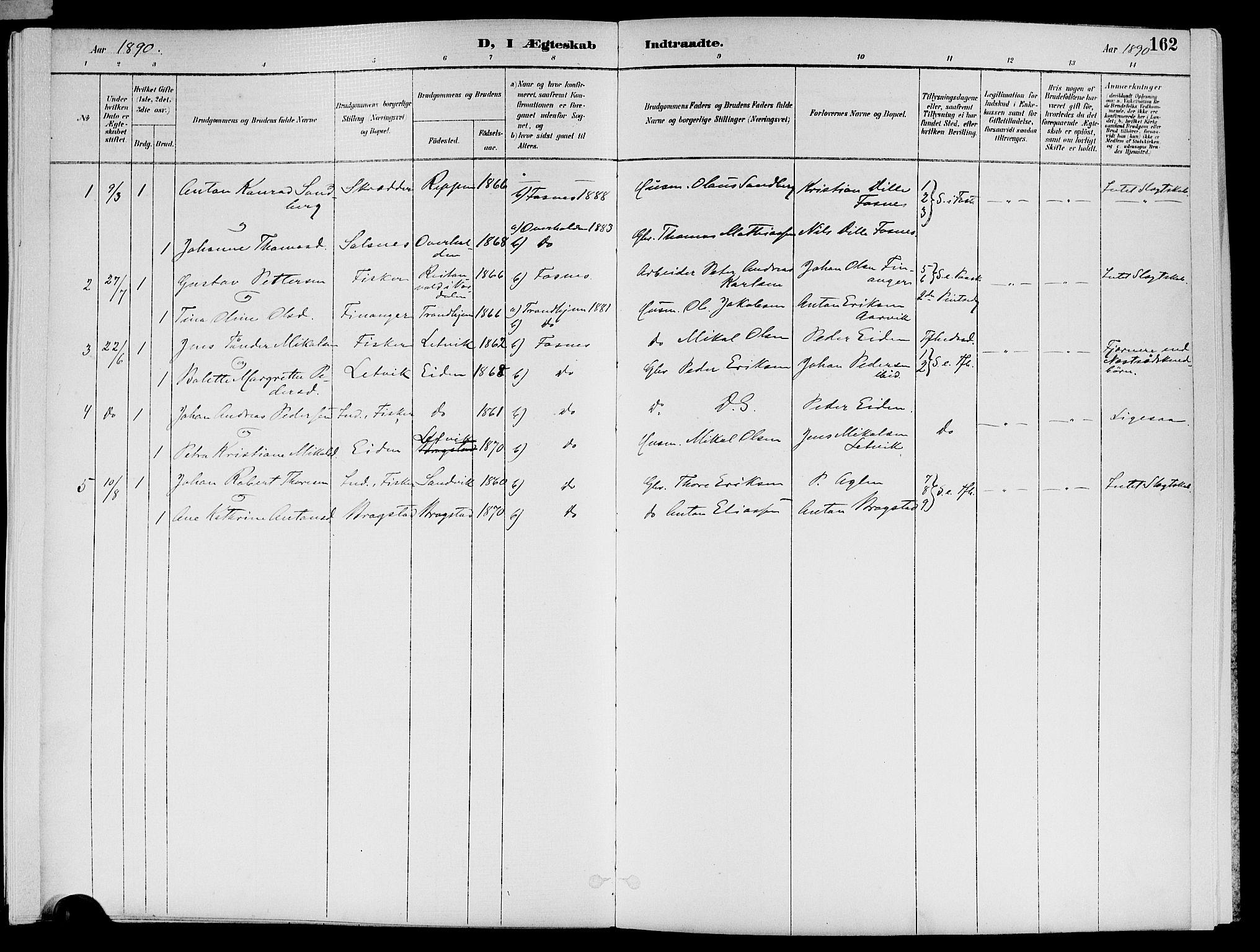 SAT, Ministerialprotokoller, klokkerbøker og fødselsregistre - Nord-Trøndelag, 773/L0617: Ministerialbok nr. 773A08, 1887-1910, s. 162