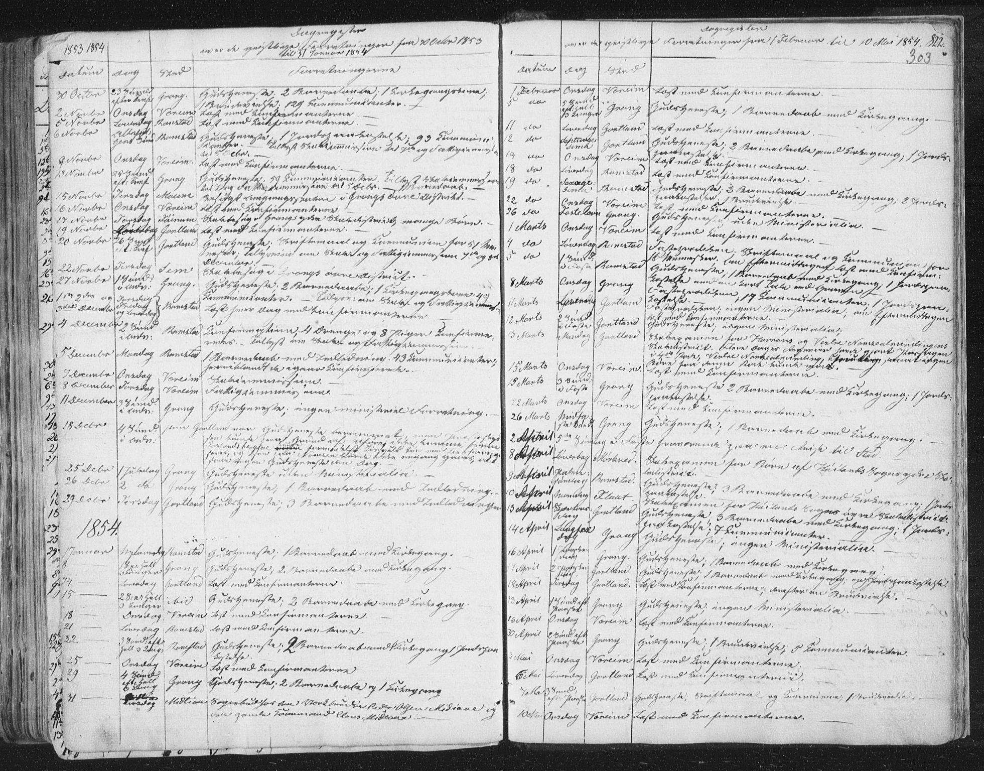SAT, Ministerialprotokoller, klokkerbøker og fødselsregistre - Nord-Trøndelag, 758/L0513: Ministerialbok nr. 758A02 /1, 1839-1868, s. 303