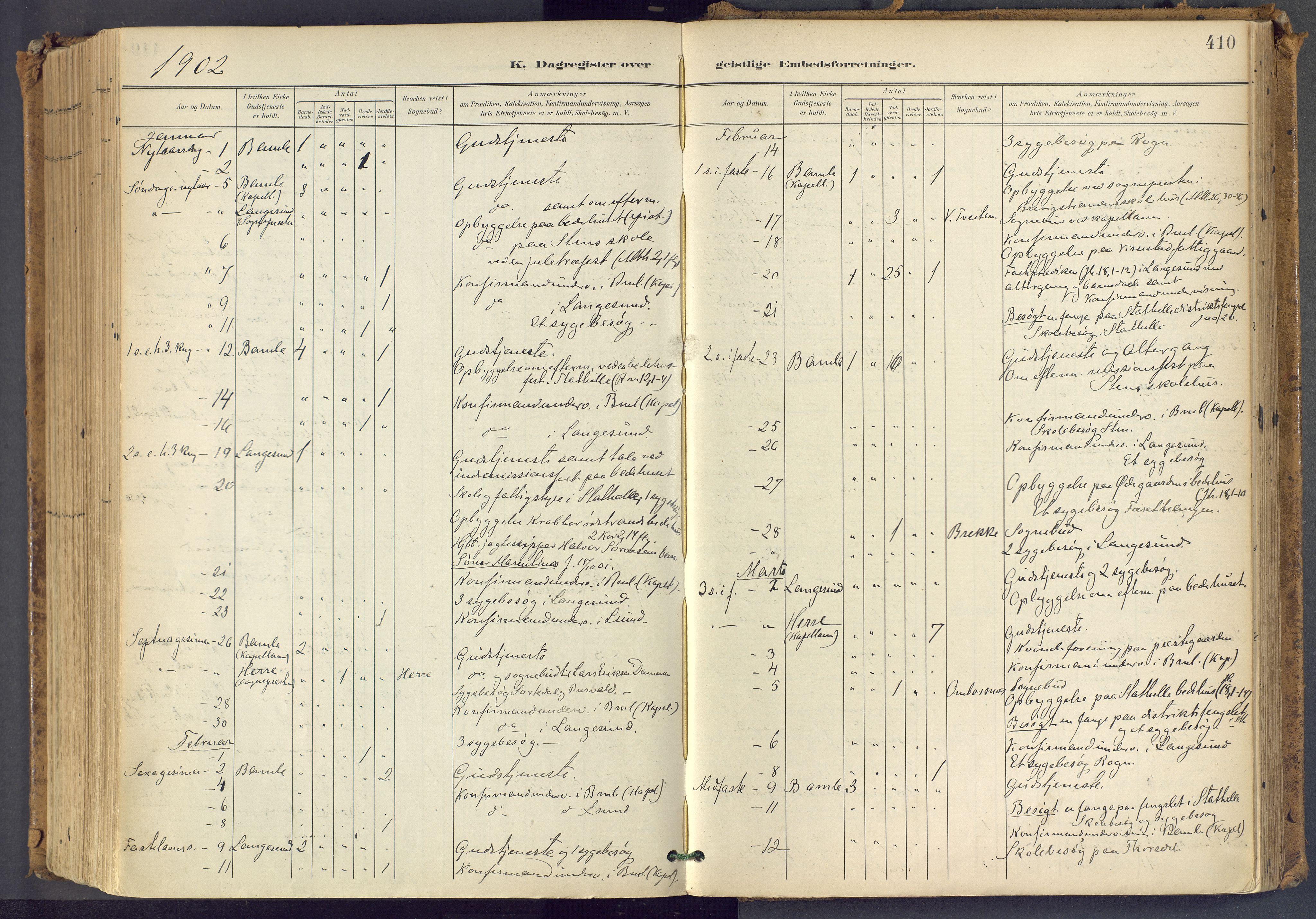 SAKO, Bamble kirkebøker, F/Fa/L0009: Ministerialbok nr. I 9, 1901-1917, s. 410