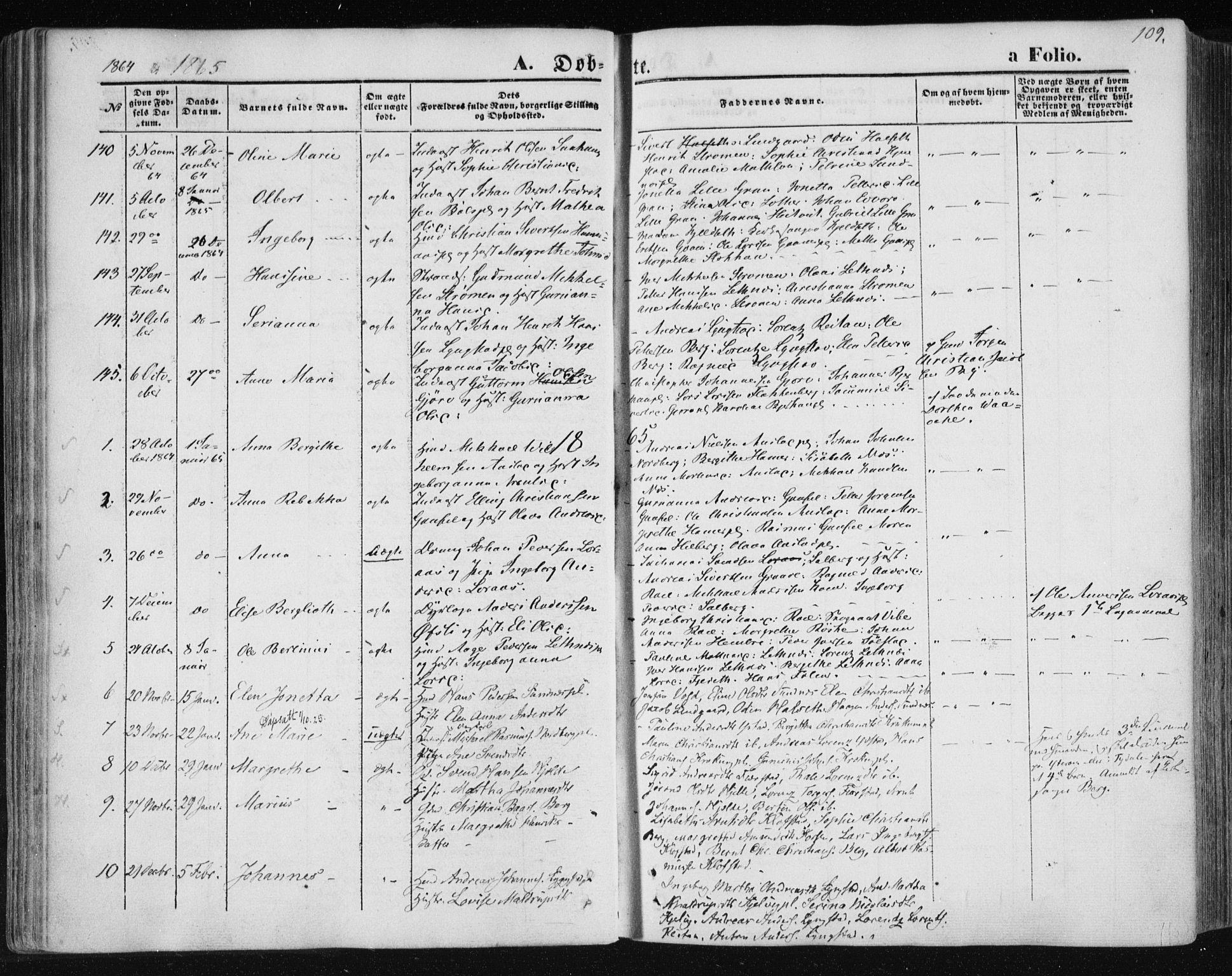 SAT, Ministerialprotokoller, klokkerbøker og fødselsregistre - Nord-Trøndelag, 730/L0283: Ministerialbok nr. 730A08, 1855-1865, s. 109