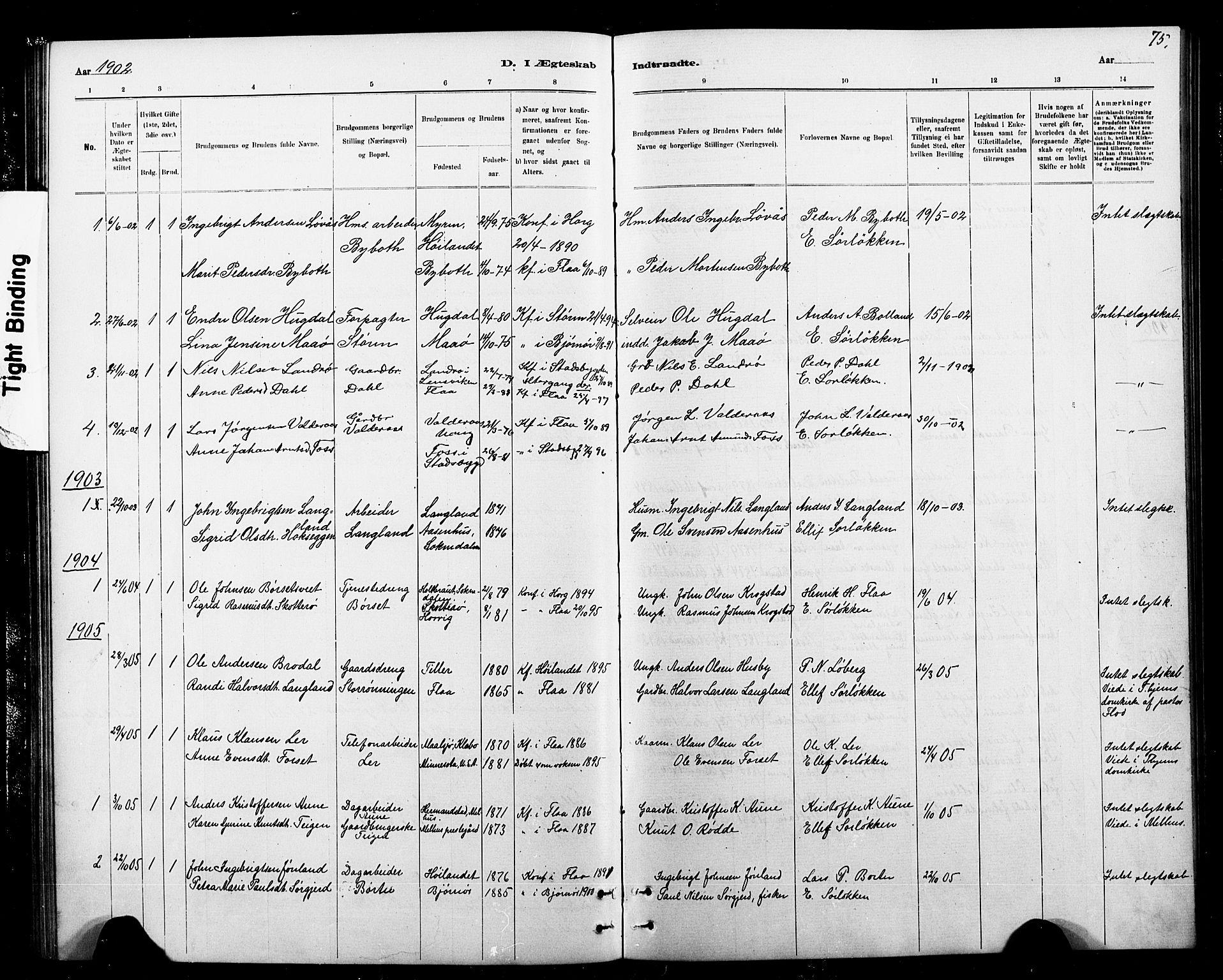 SAT, Ministerialprotokoller, klokkerbøker og fødselsregistre - Sør-Trøndelag, 693/L1123: Klokkerbok nr. 693C04, 1887-1910, s. 75
