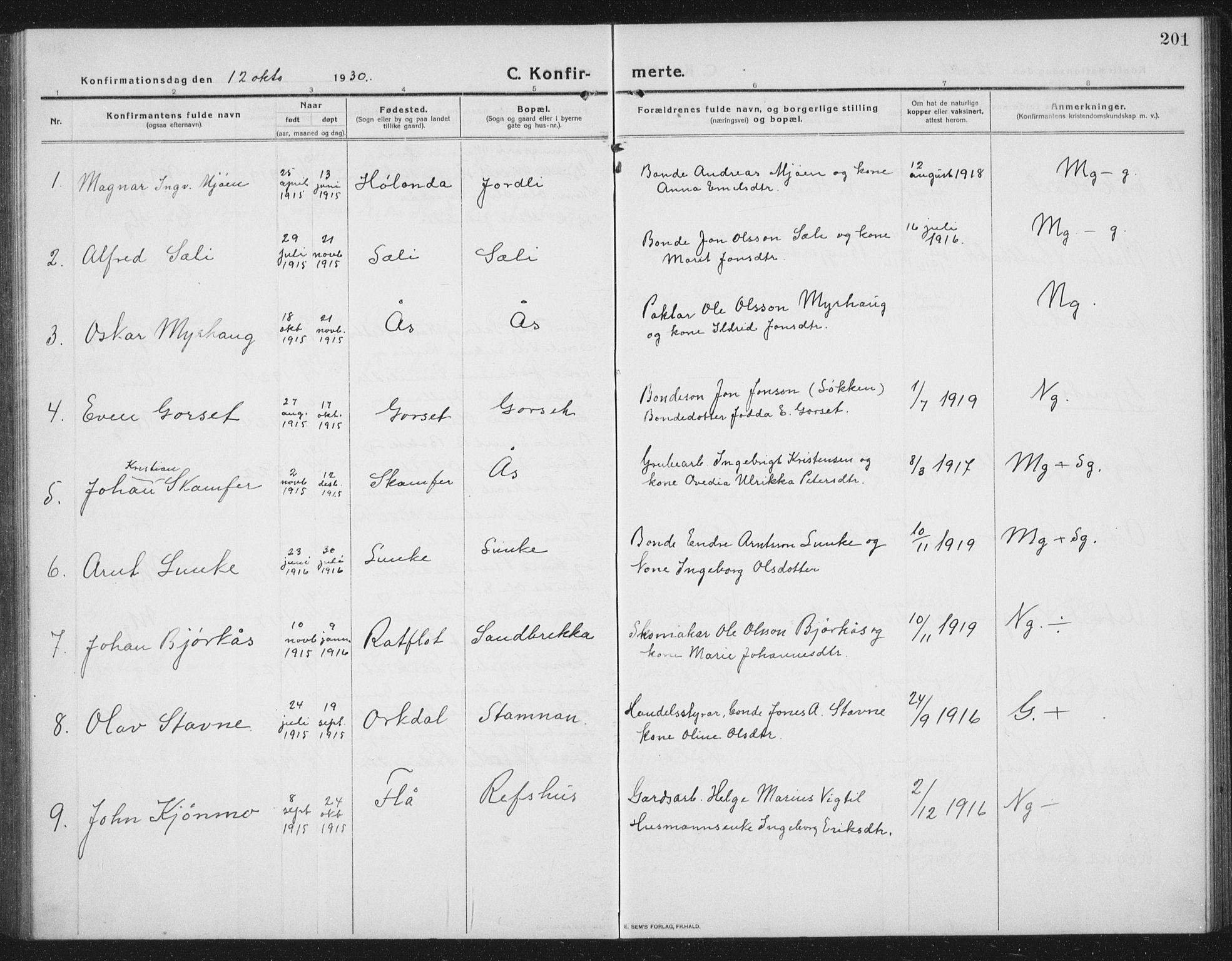 SAT, Ministerialprotokoller, klokkerbøker og fødselsregistre - Sør-Trøndelag, 674/L0877: Klokkerbok nr. 674C04, 1913-1940, s. 201