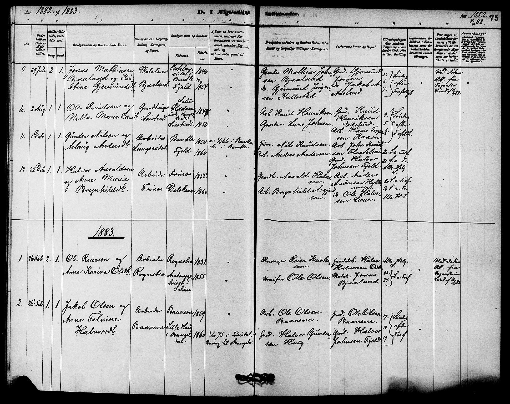 SAKO, Solum kirkebøker, F/Fc/L0001: Ministerialbok nr. III 1, 1877-1891, s. 75