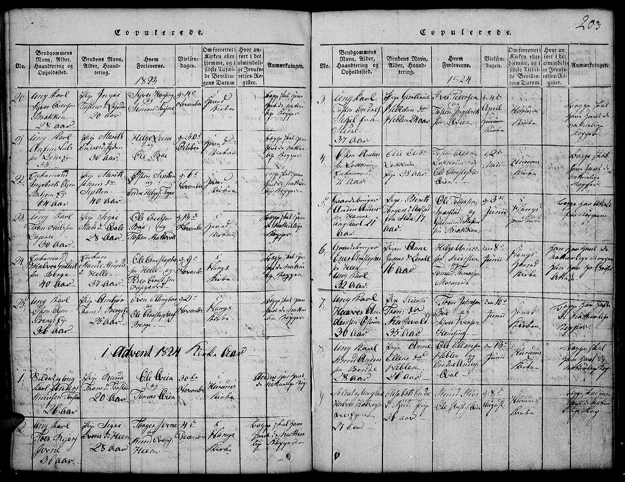 SAH, Vang prestekontor, Valdres, Klokkerbok nr. 2, 1814-1889, s. 203