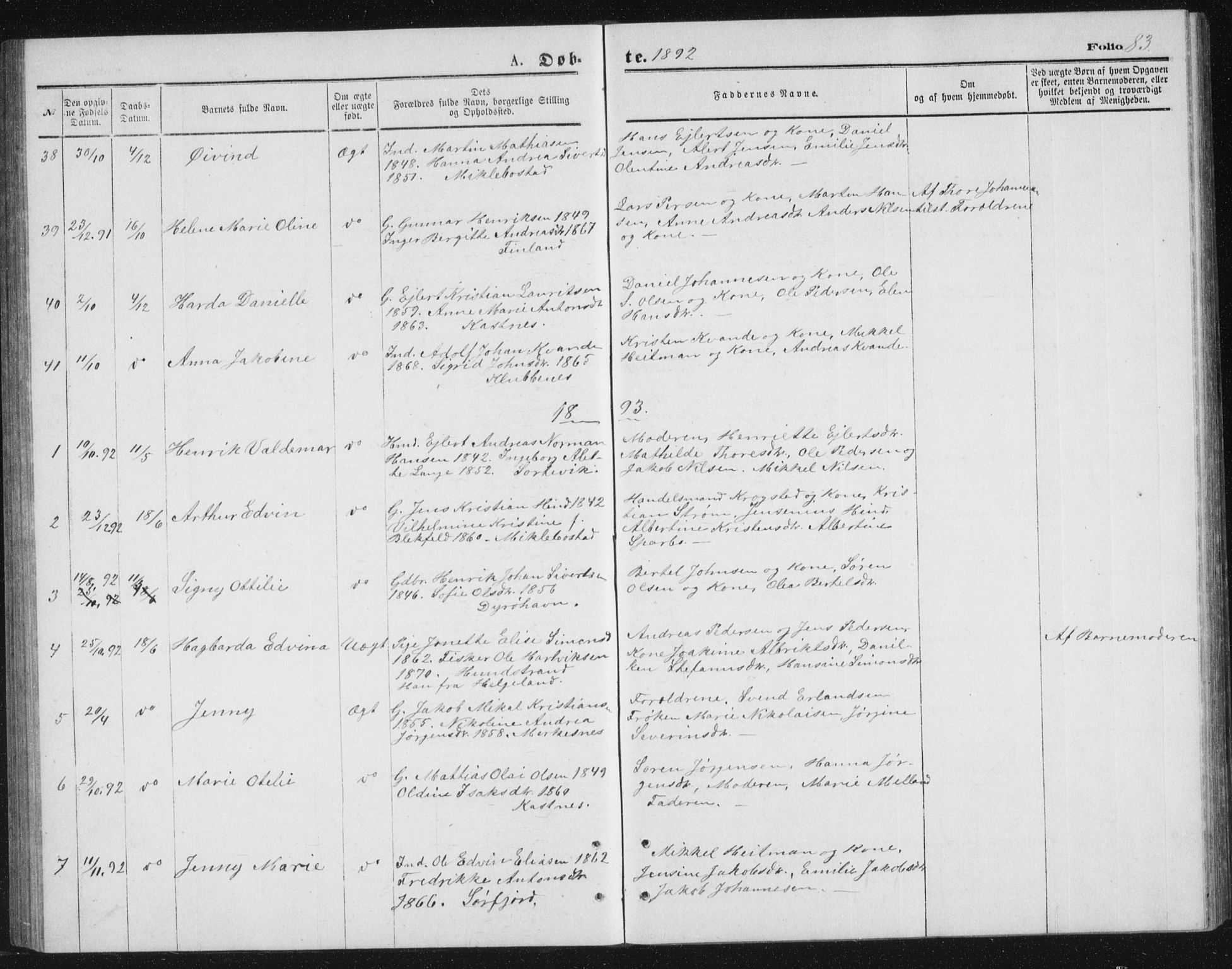 SATØ, Tranøy sokneprestkontor, I/Ia/Iab/L0013klokker: Klokkerbok nr. 13, 1874-1896, s. 83