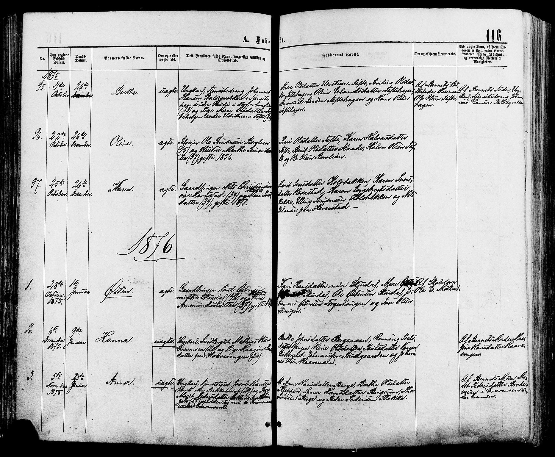 SAH, Sør-Fron prestekontor, H/Ha/Haa/L0002: Ministerialbok nr. 2, 1864-1880, s. 116