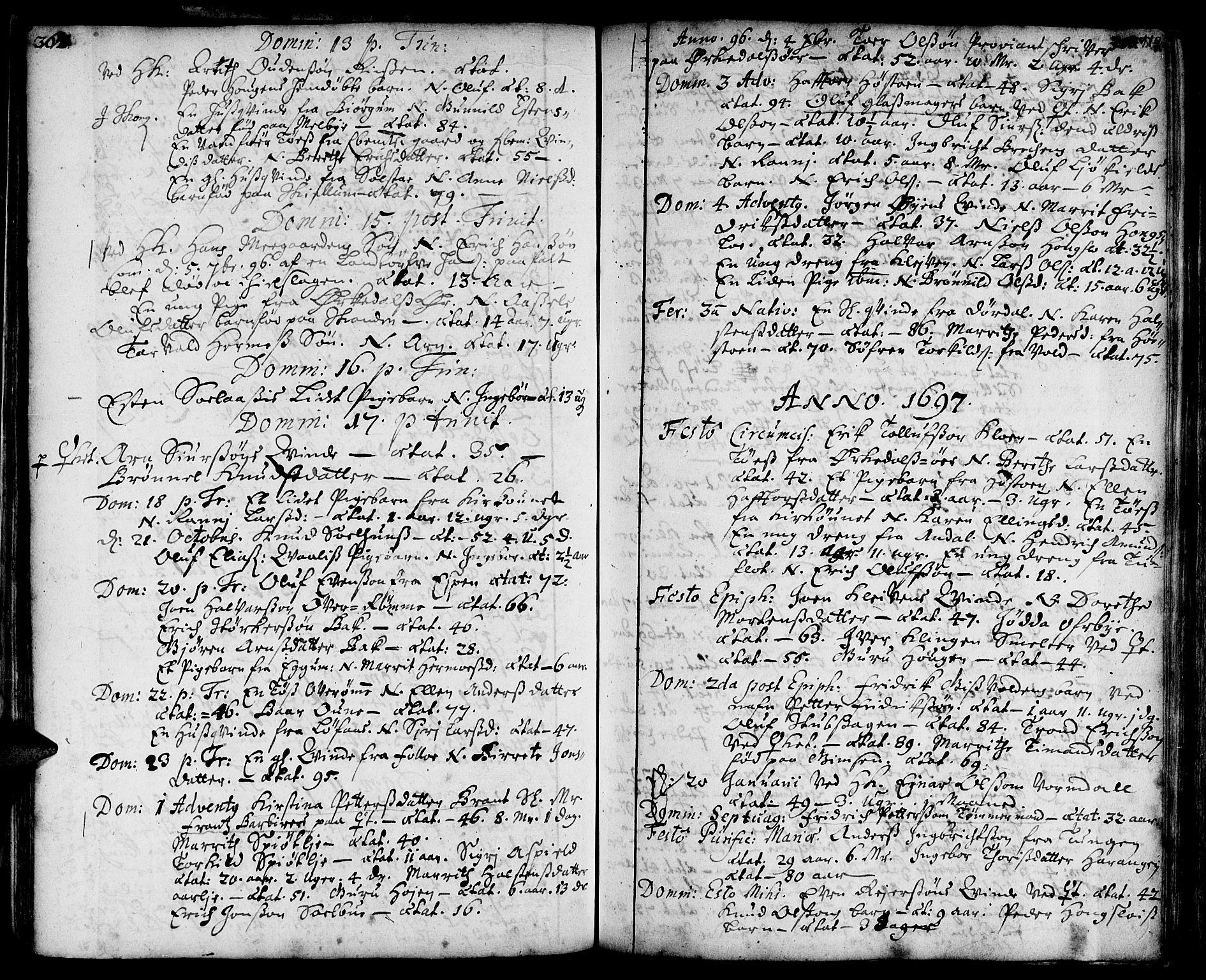 SAT, Ministerialprotokoller, klokkerbøker og fødselsregistre - Sør-Trøndelag, 668/L0801: Ministerialbok nr. 668A01, 1695-1716, s. 118-119