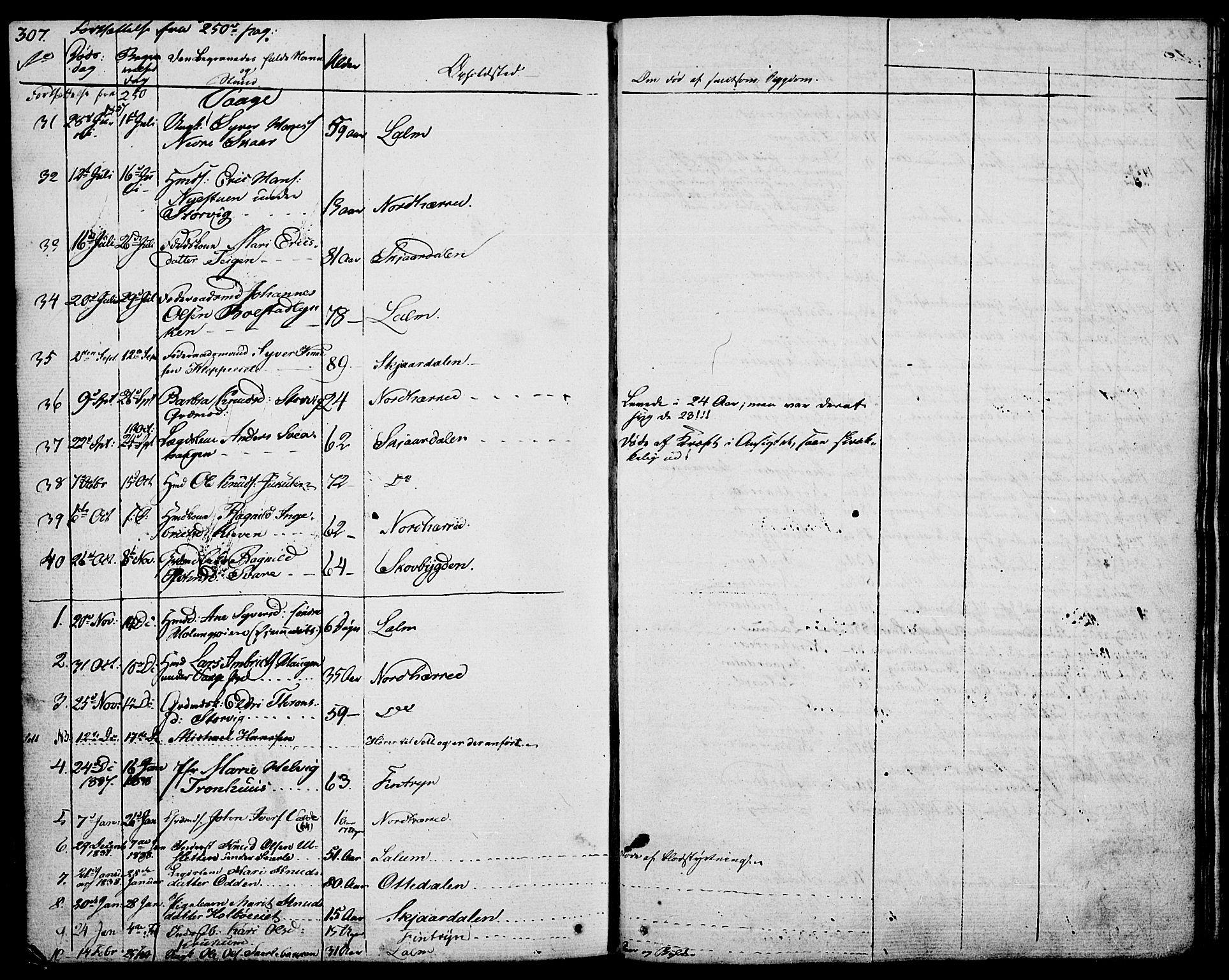 SAH, Vågå prestekontor, Ministerialbok nr. 4 /1, 1827-1842, s. 307