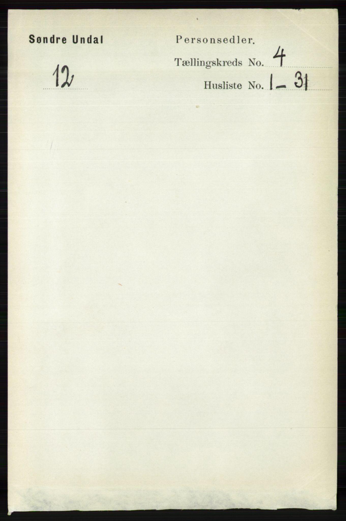 RA, Folketelling 1891 for 1029 Sør-Audnedal herred, 1891, s. 1408