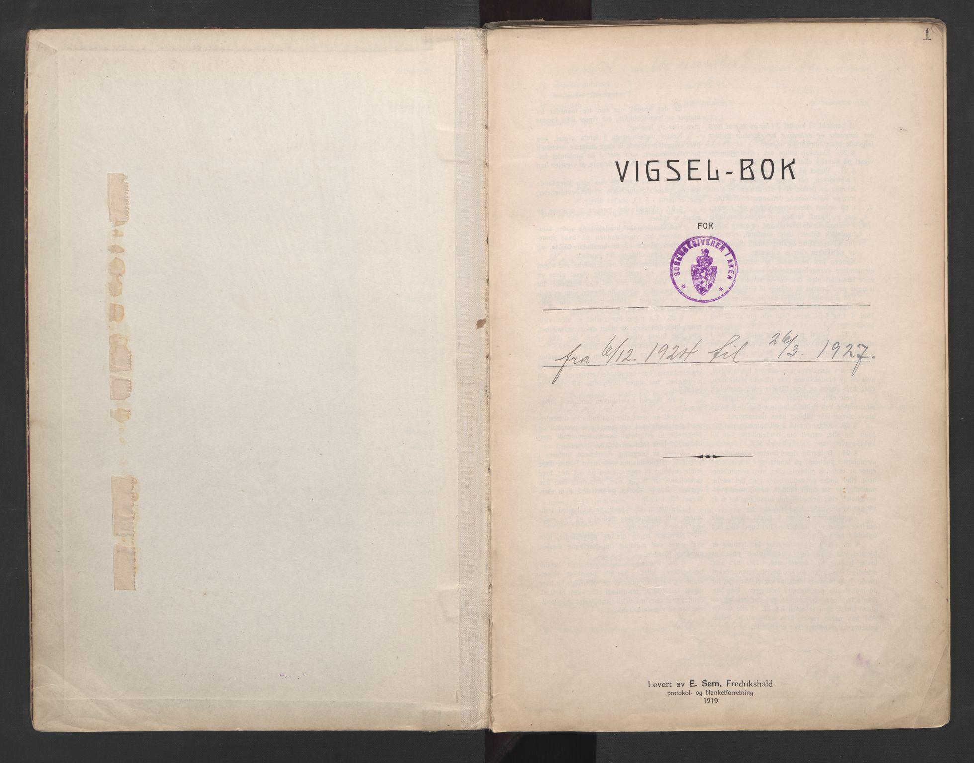 SAO, Aker sorenskriveri, L/Lc/Lcb/L0003: Vigselprotokoll, 1924-1927, s. 1