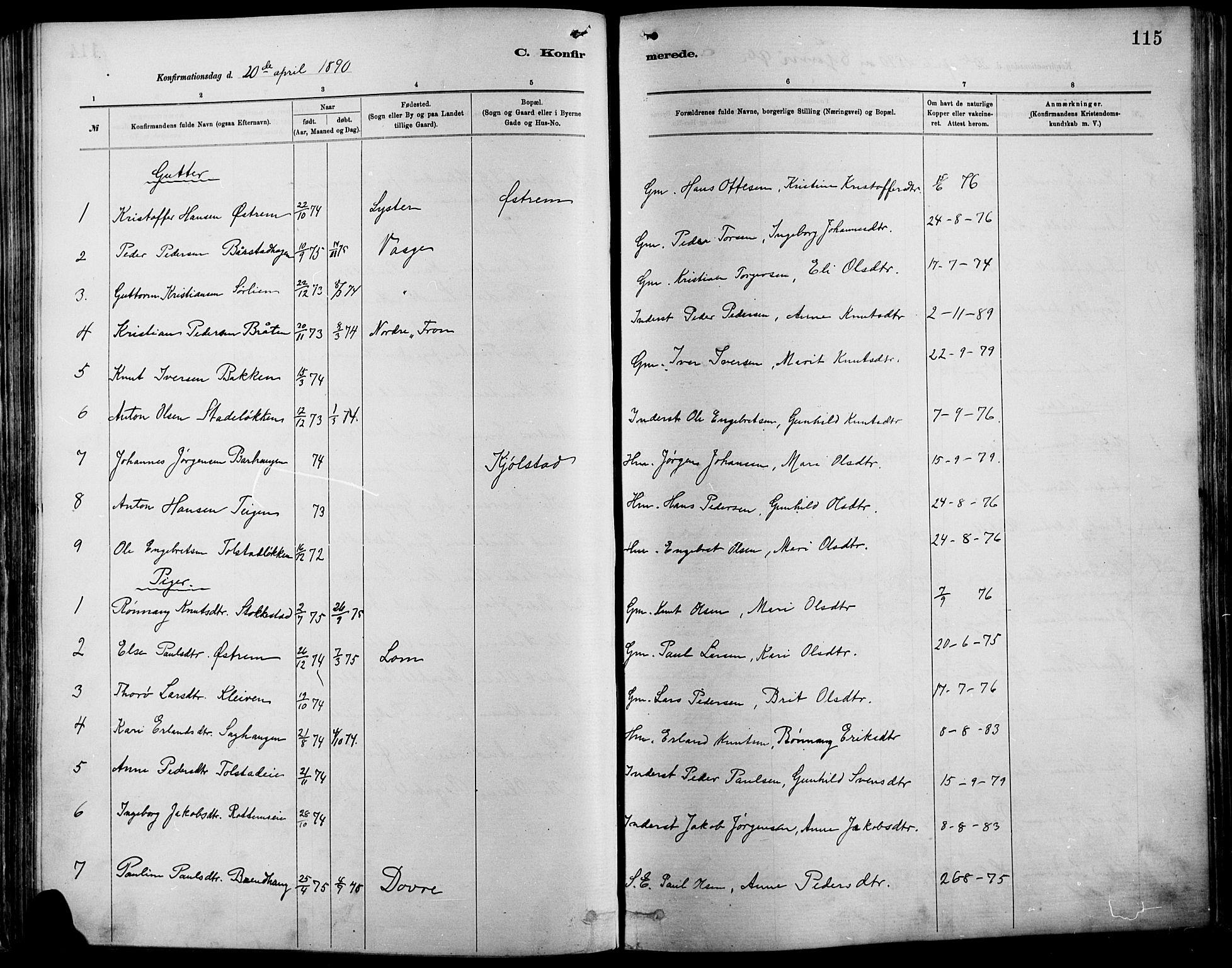 SAH, Vågå prestekontor, Ministerialbok nr. 9, 1886-1904, s. 115