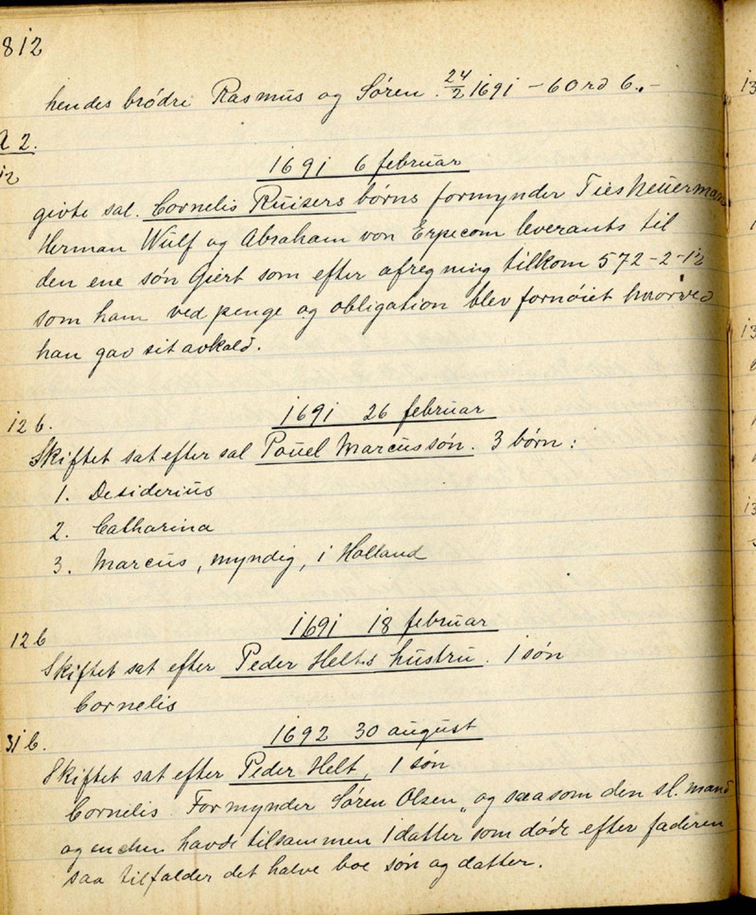 SAB, Sollied, Olaf og Thora - samlinger, 01/L0010: Skifte: Utdrag av skifteprotokoller, 1675-1785, s. 812