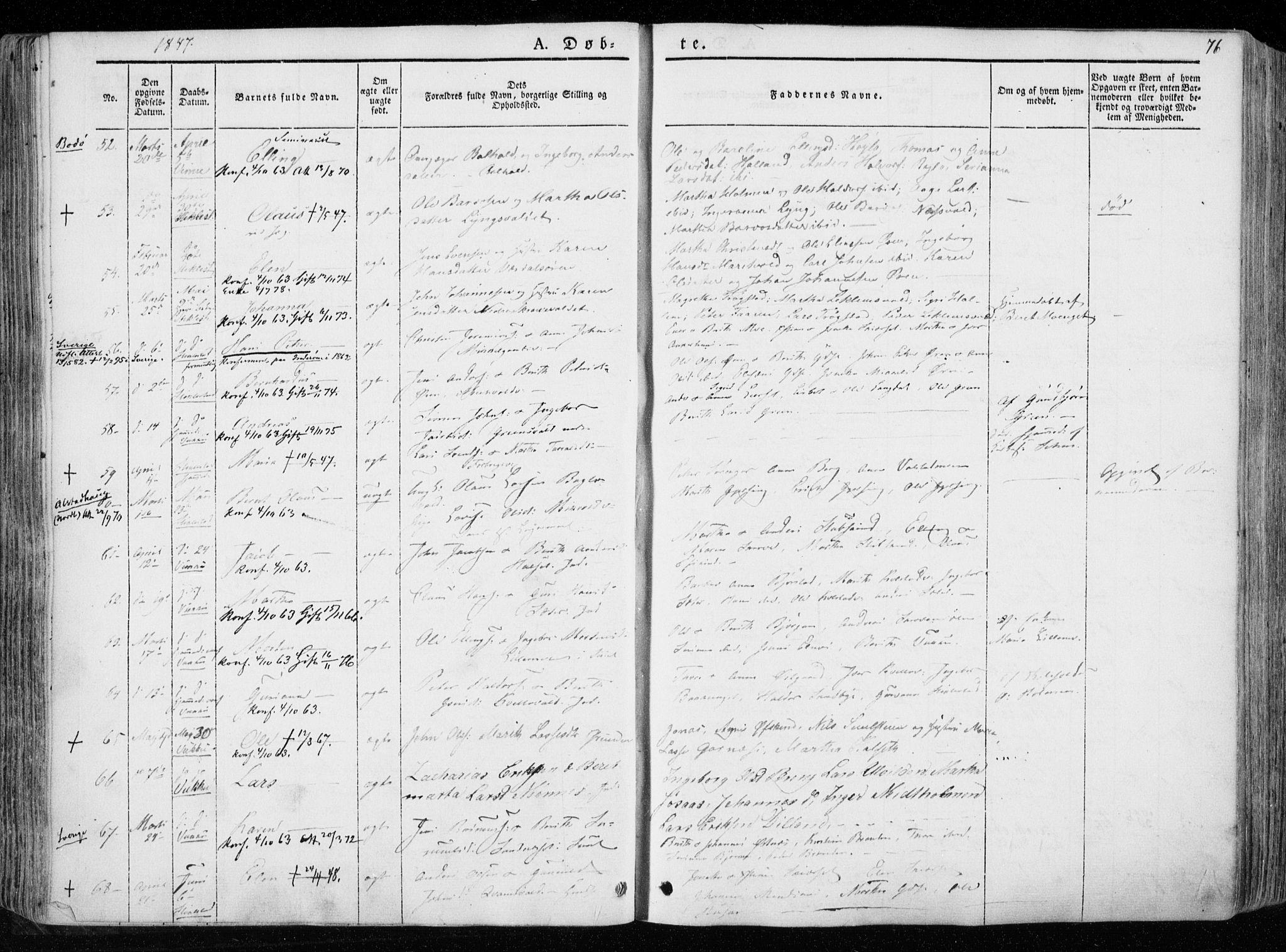 SAT, Ministerialprotokoller, klokkerbøker og fødselsregistre - Nord-Trøndelag, 723/L0239: Ministerialbok nr. 723A08, 1841-1851, s. 76