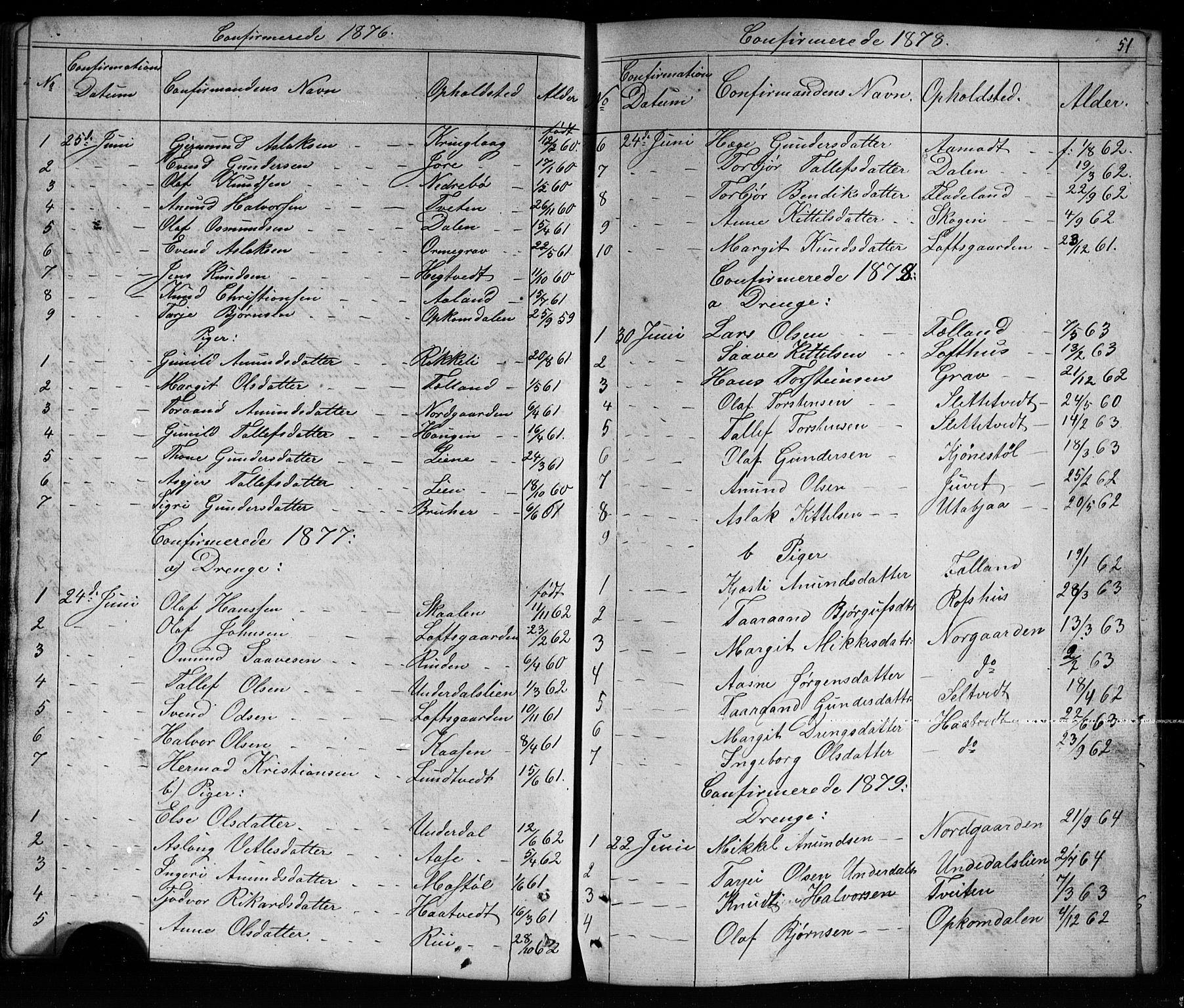 SAKO, Mo kirkebøker, G/Ga/L0001: Klokkerbok nr. I 1, 1851-1891, s. 51