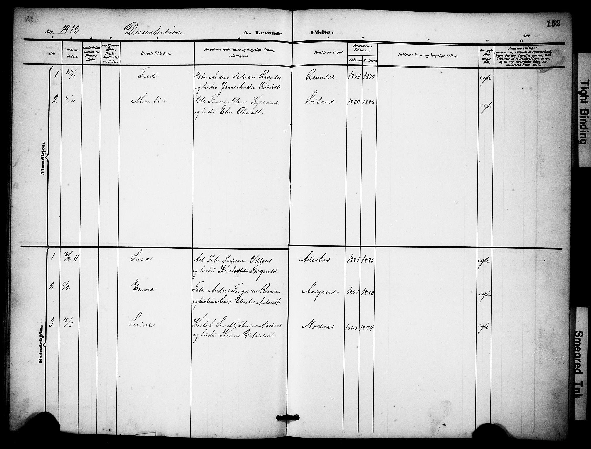 SAST, Lye sokneprestkontor, 30BB/L0009: Klokkerbok nr. B 9, 1902-1923, s. 152