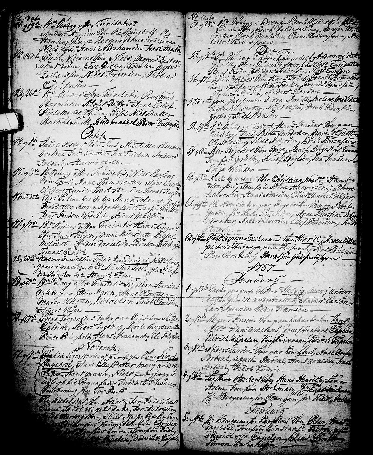 SAKO, Skien kirkebøker, G/Ga/L0001: Klokkerbok nr. 1, 1756-1791, s. 62