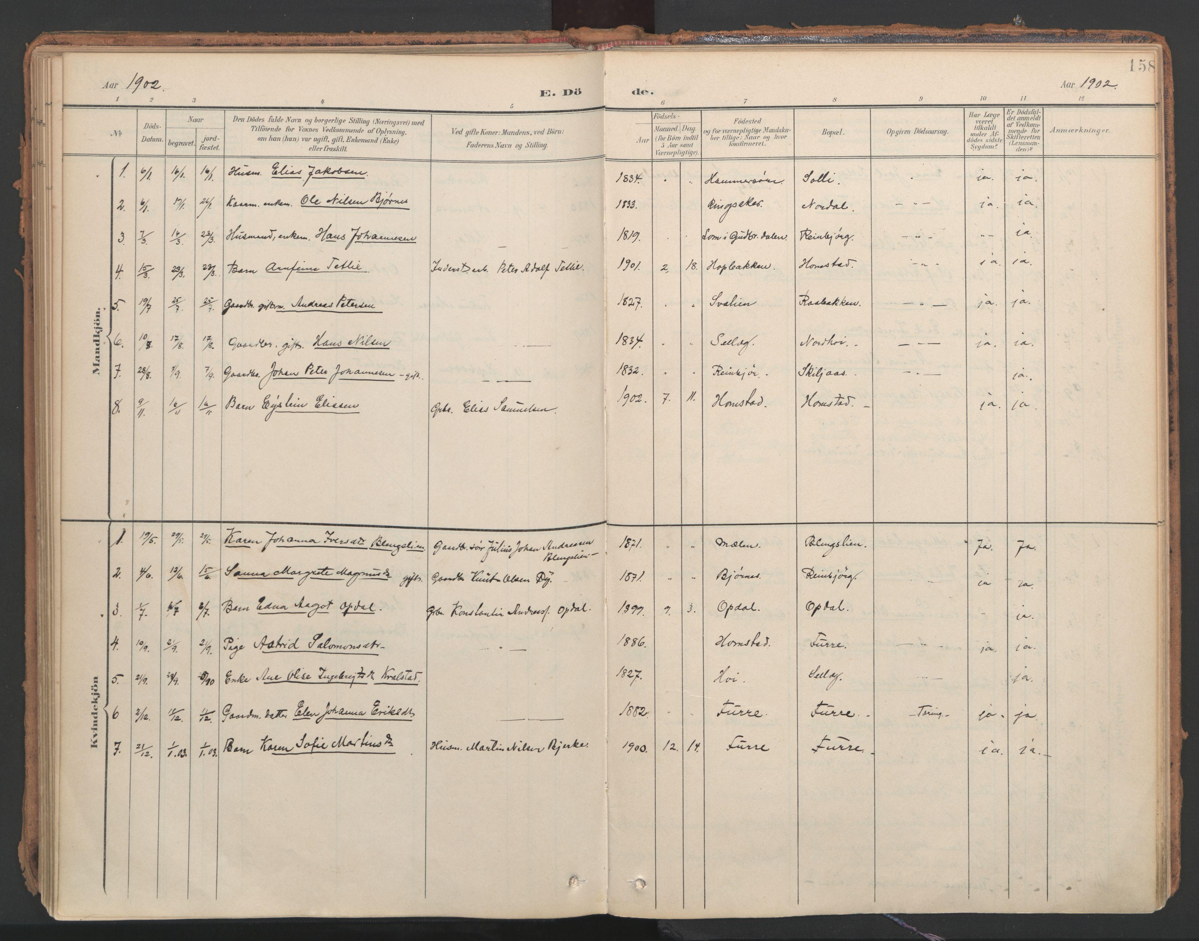 SAT, Ministerialprotokoller, klokkerbøker og fødselsregistre - Nord-Trøndelag, 766/L0564: Ministerialbok nr. 767A02, 1900-1932, s. 158