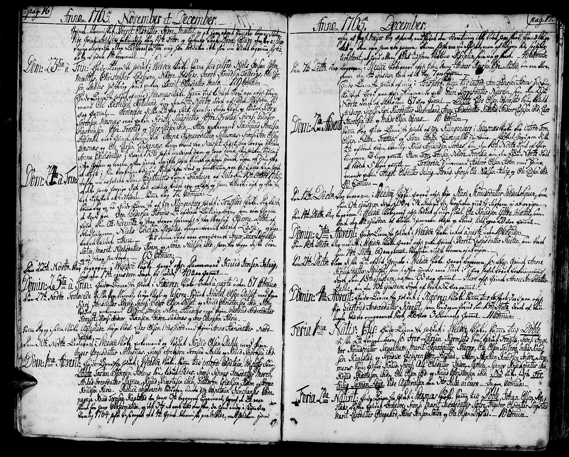 SAT, Ministerialprotokoller, klokkerbøker og fødselsregistre - Møre og Romsdal, 547/L0600: Ministerialbok nr. 547A02, 1765-1799, s. 16-17
