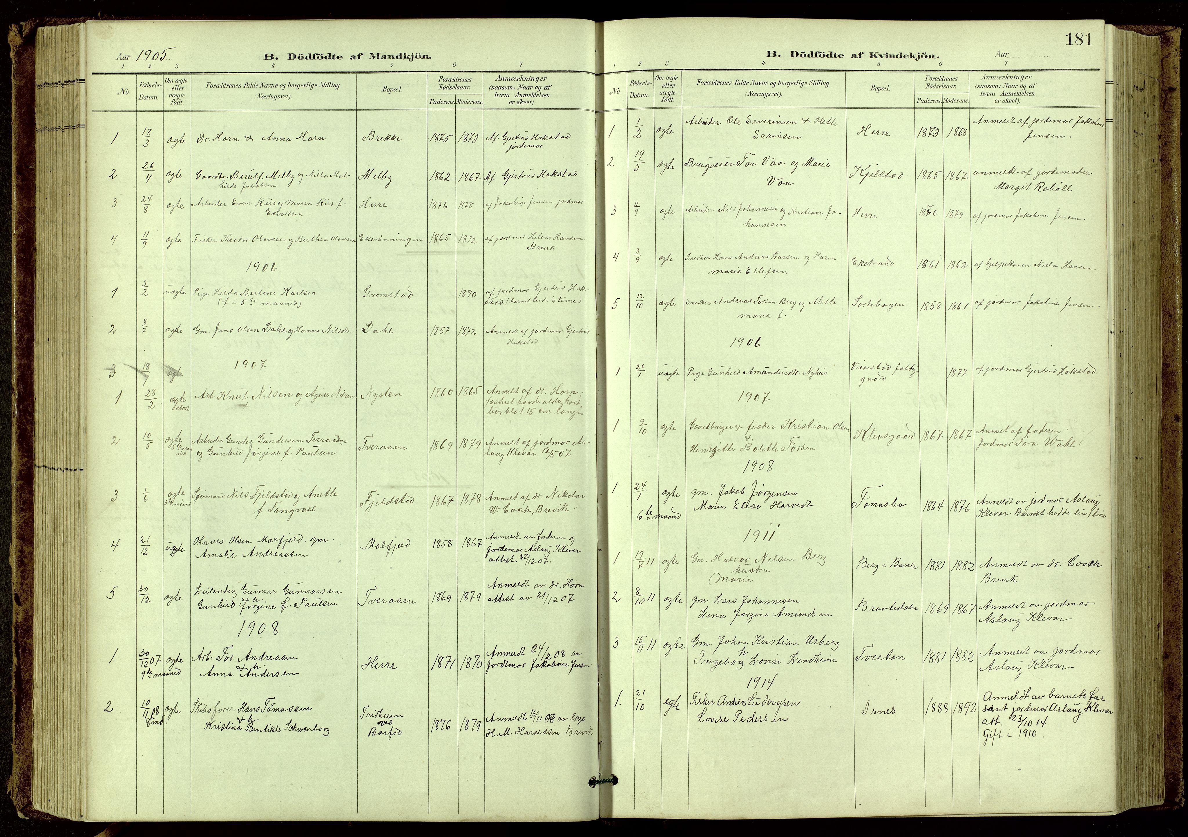 SAKO, Bamble kirkebøker, G/Ga/L0010: Klokkerbok nr. I 10, 1901-1919, s. 181