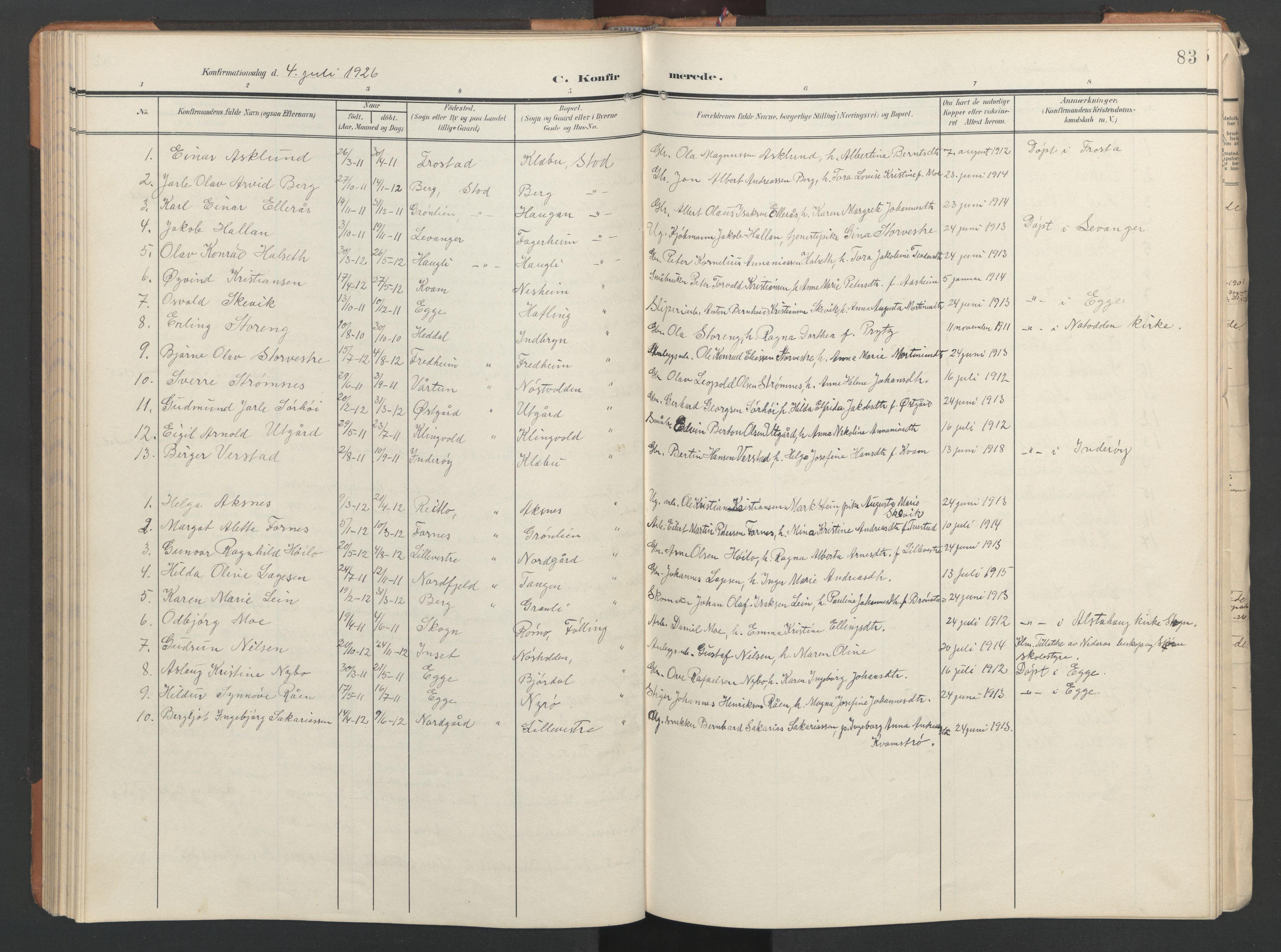 SAT, Ministerialprotokoller, klokkerbøker og fødselsregistre - Nord-Trøndelag, 746/L0455: Klokkerbok nr. 746C01, 1908-1933, s. 83