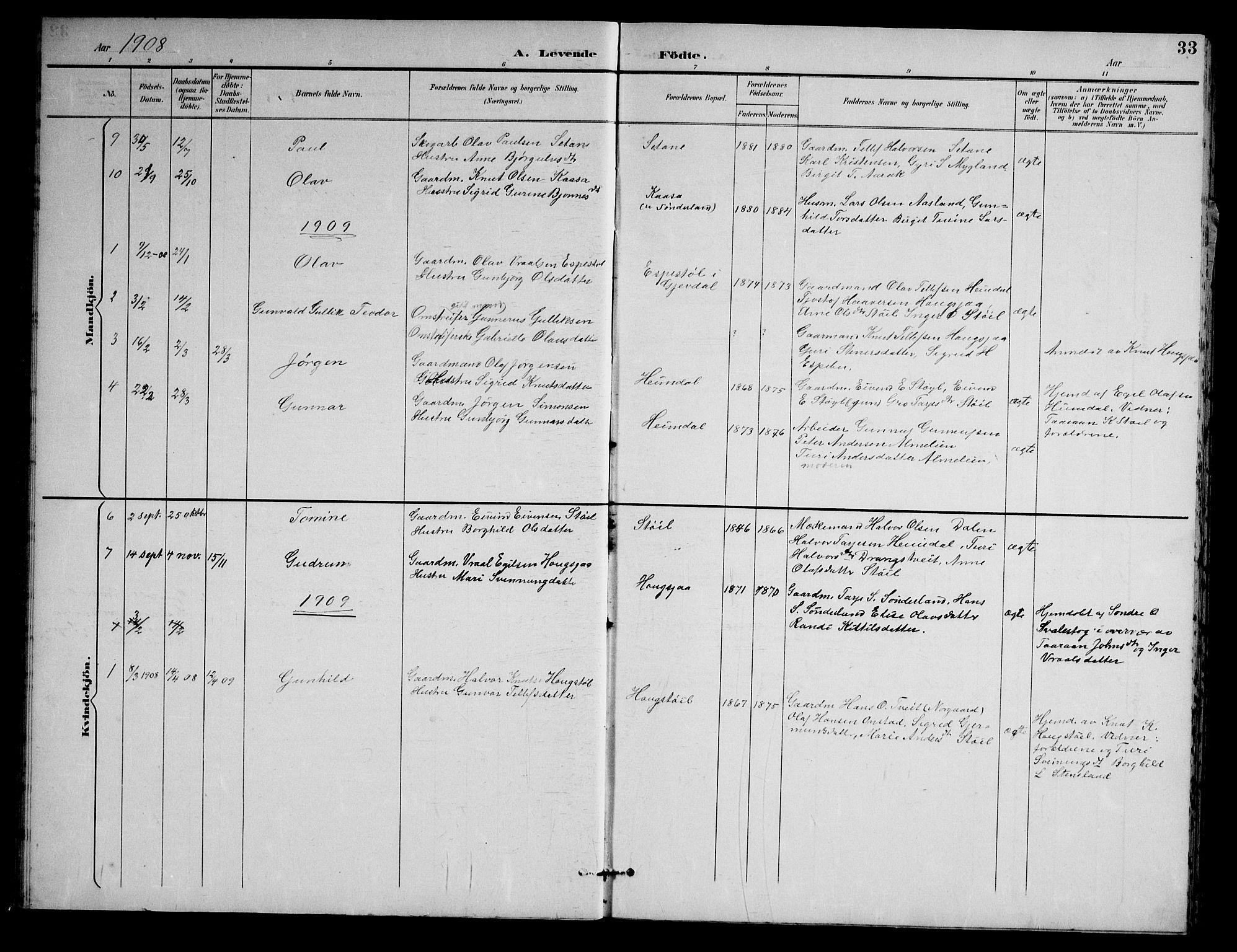 SAKO, Nissedal kirkebøker, G/Gb/L0003: Klokkerbok nr. II 3, 1893-1928, s. 33