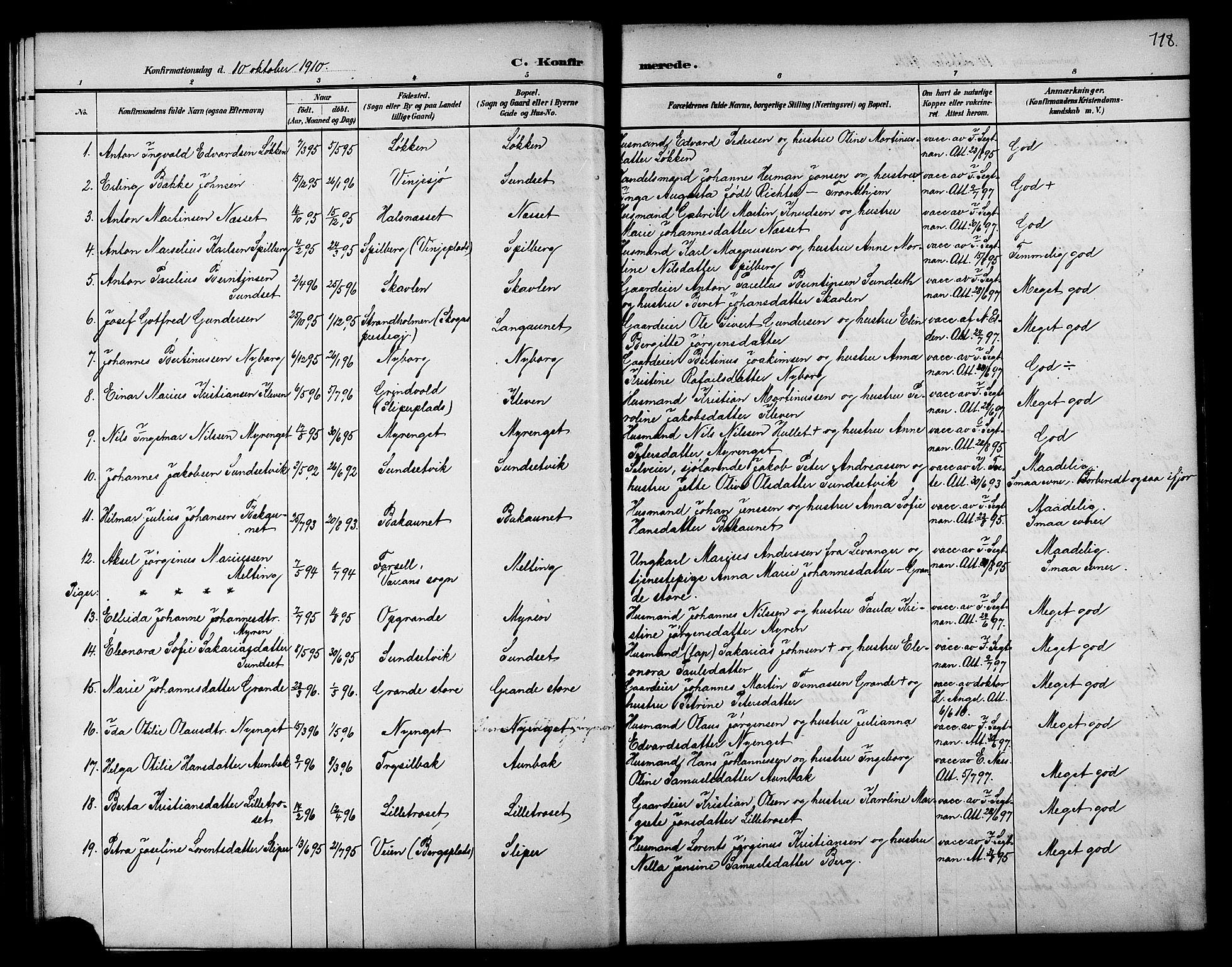 SAT, Ministerialprotokoller, klokkerbøker og fødselsregistre - Nord-Trøndelag, 733/L0327: Klokkerbok nr. 733C02, 1888-1918, s. 118