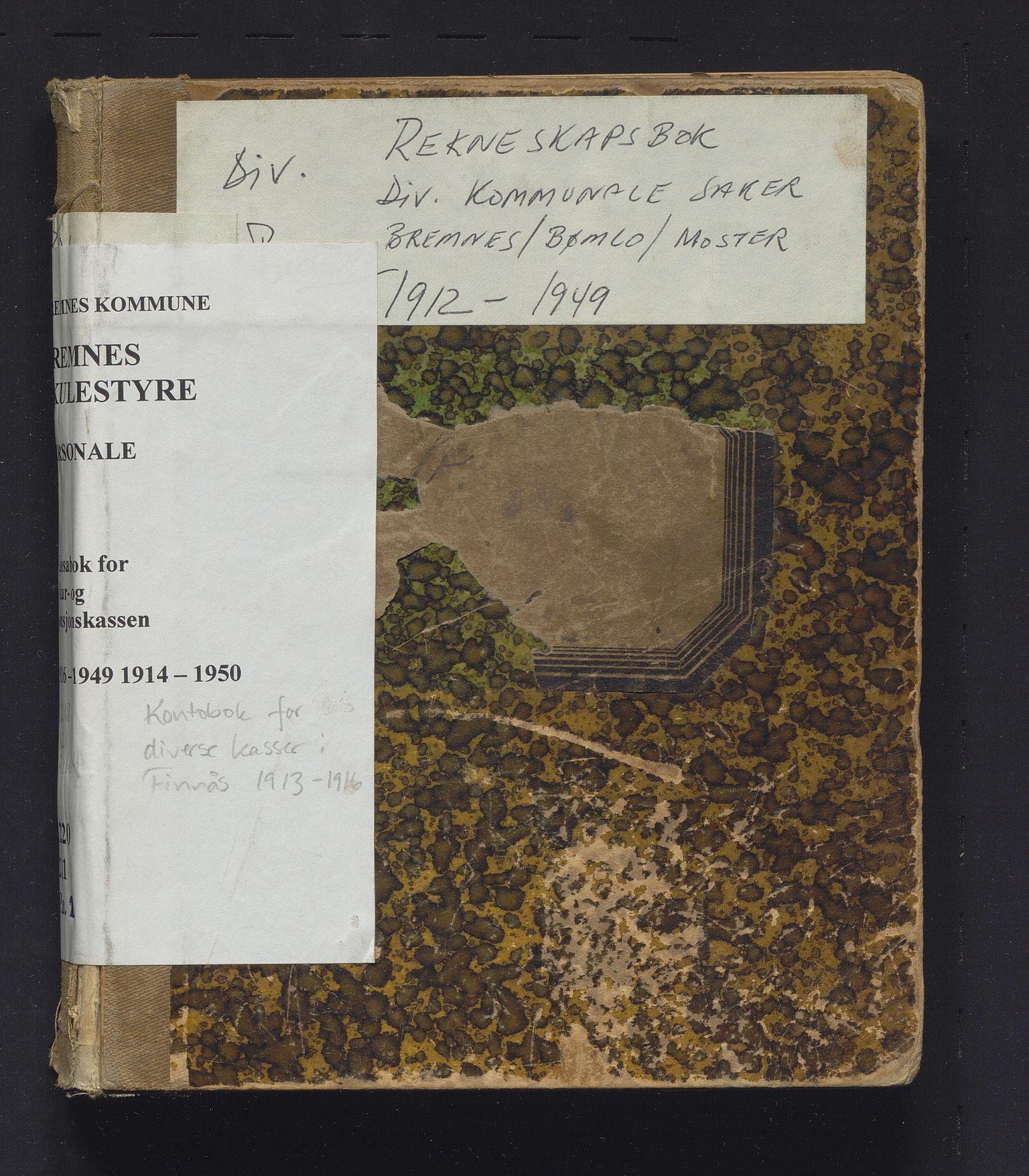 IKAH, Finnaas kommune. Heradskassen, R/Rc/Rca/L0004: Kontobok for diverse kassar, 1913-1916