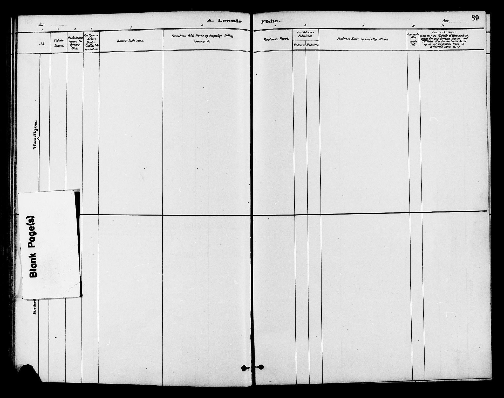 SAH, Lom prestekontor, K/L0008: Ministerialbok nr. 8, 1885-1898, s. 89