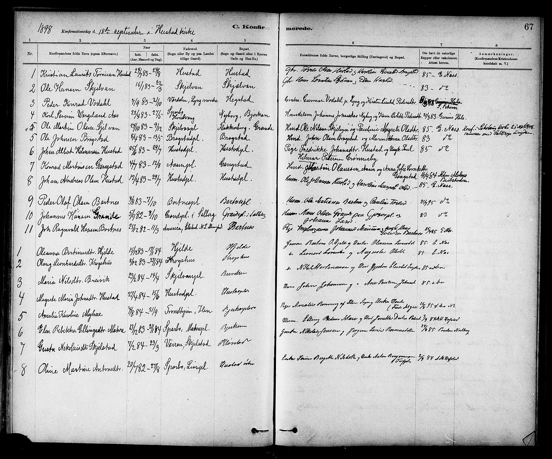 SAT, Ministerialprotokoller, klokkerbøker og fødselsregistre - Nord-Trøndelag, 732/L0318: Klokkerbok nr. 732C02, 1881-1911, s. 67