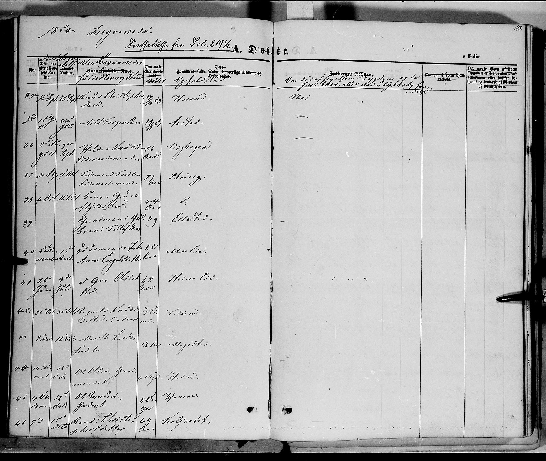 SAH, Vestre Slidre prestekontor, Ministerialbok nr. 1, 1844-1855, s. 113