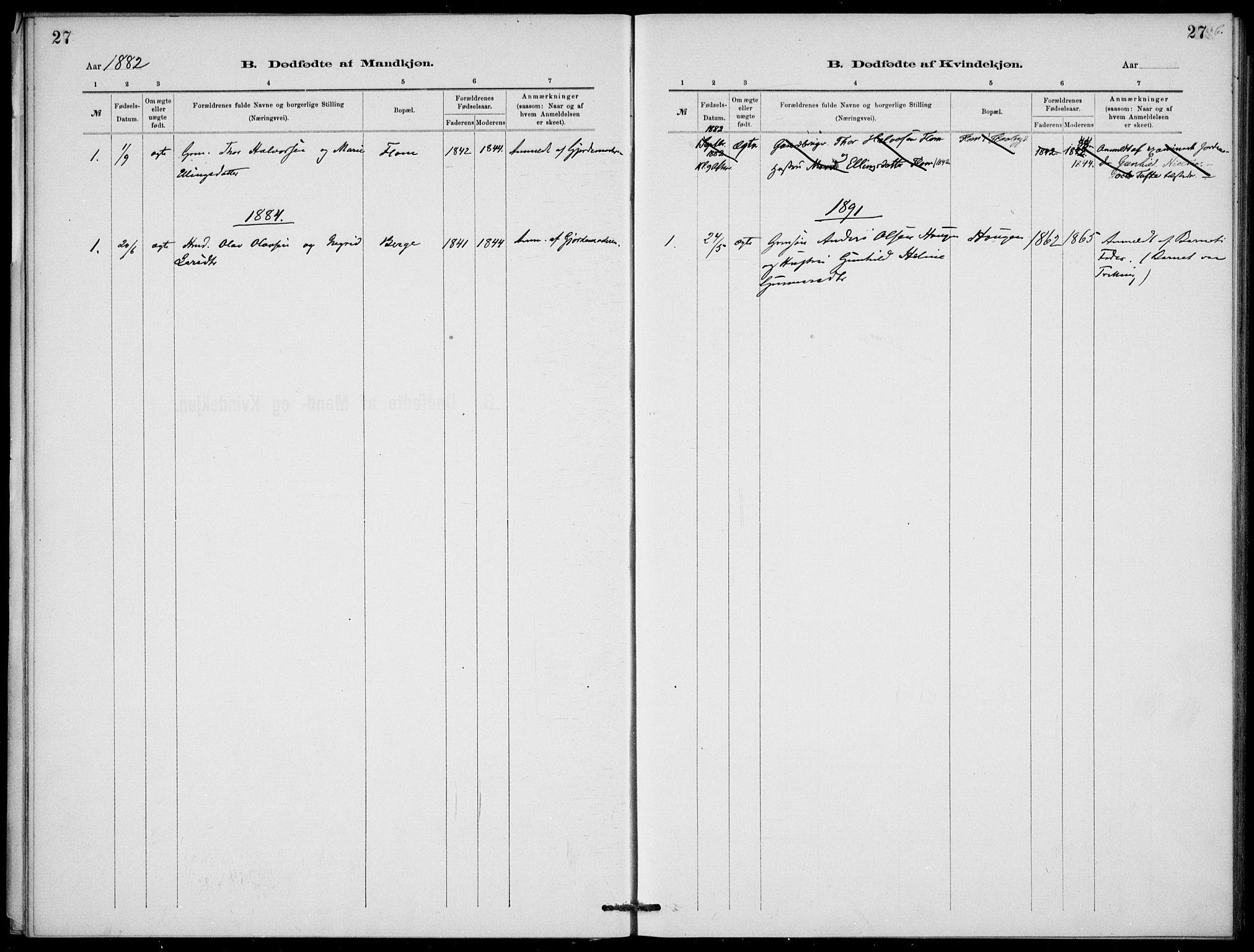 SAKO, Lunde kirkebøker, F/Fb/L0003: Ministerialbok nr. II 3, 1882-1891, s. 27