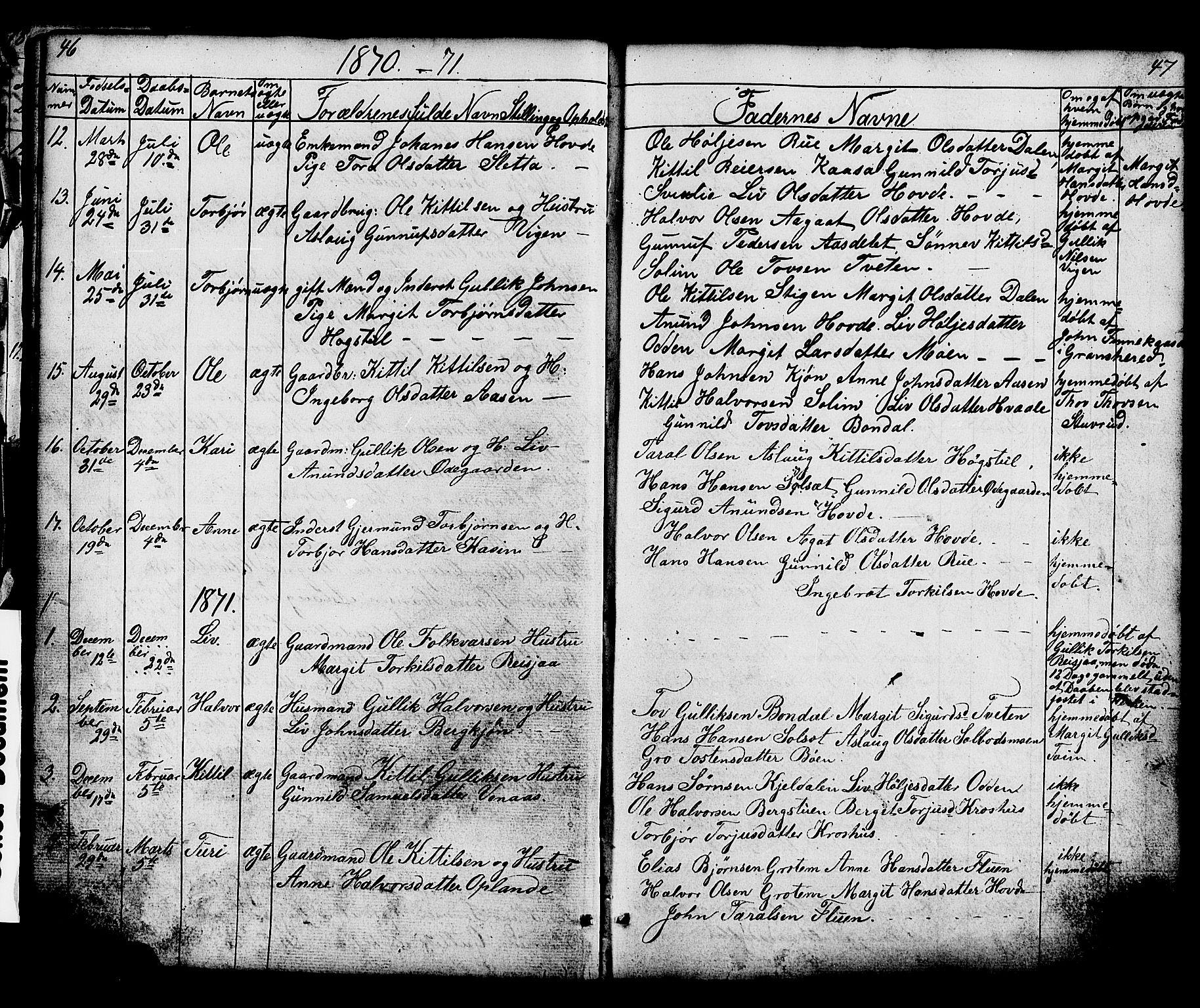 SAKO, Hjartdal kirkebøker, G/Gc/L0002: Klokkerbok nr. III 2, 1854-1890, s. 46-47