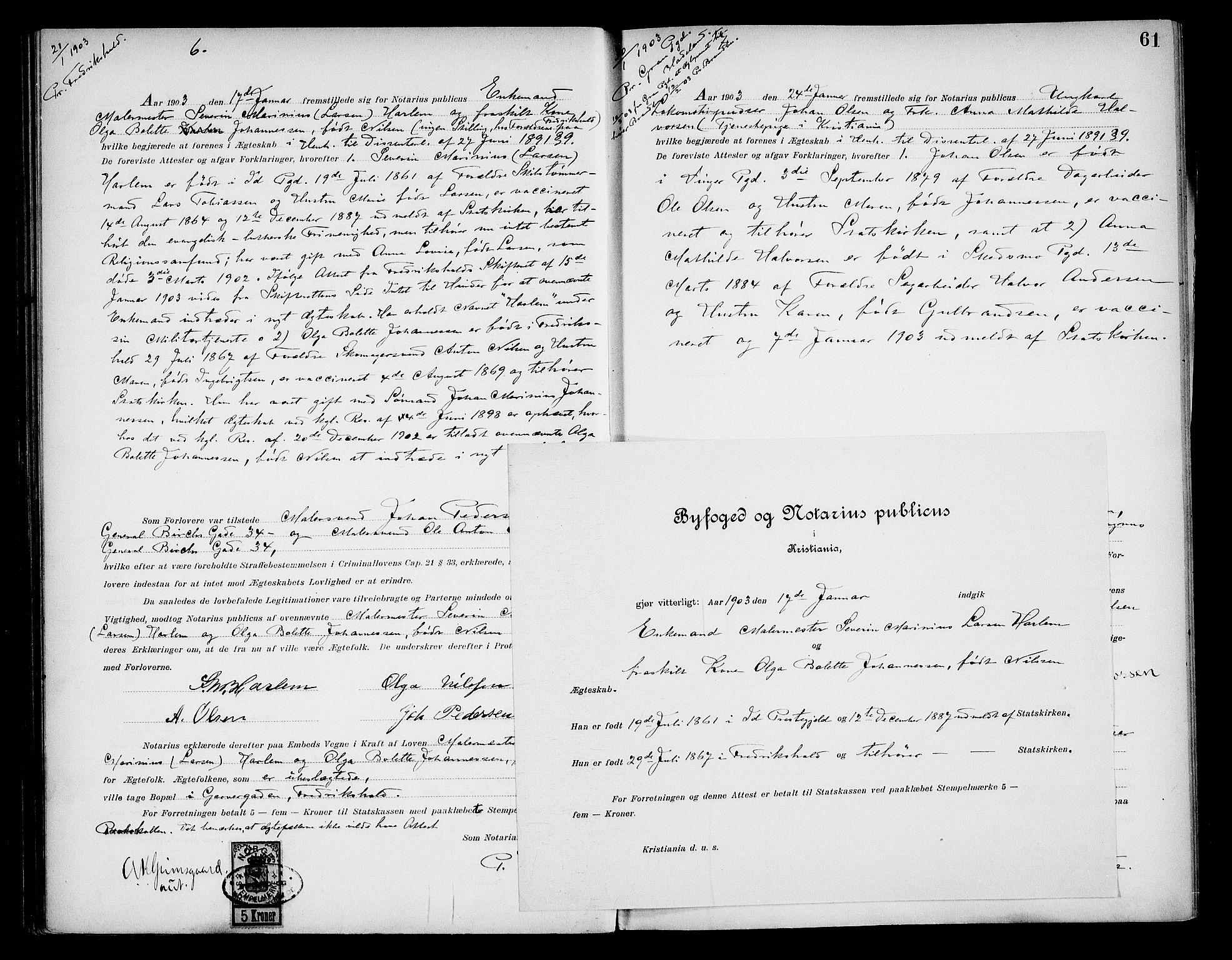 SAO, Oslo byfogd avd. I, L/Lb/Lbb/L0006: Notarialprotokoll, rekke II: Vigsler, 1902-1907, s. 60b-61a