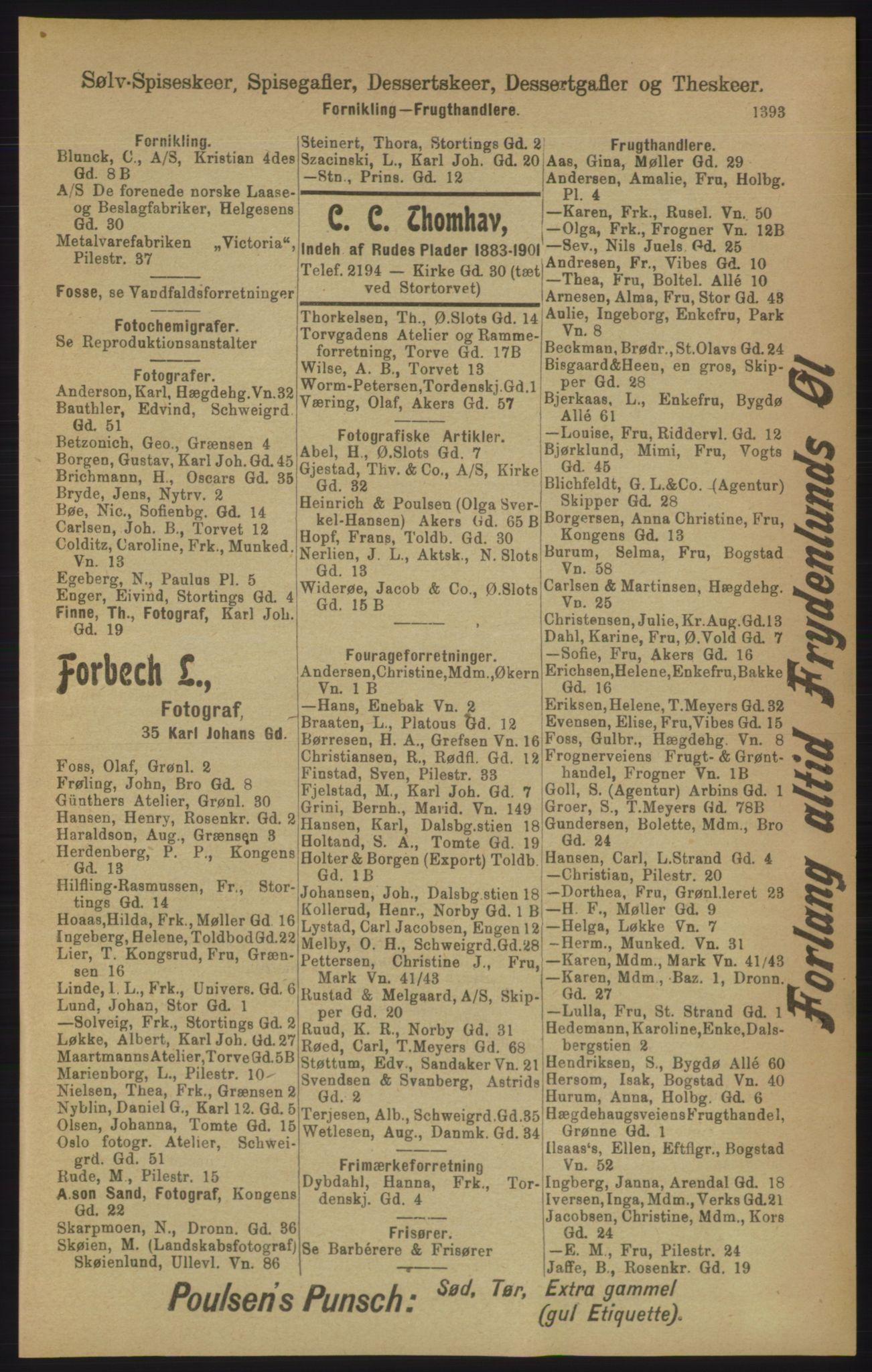 RA, Kristiania adressebok (publikasjon)*, 1906, s. 1393