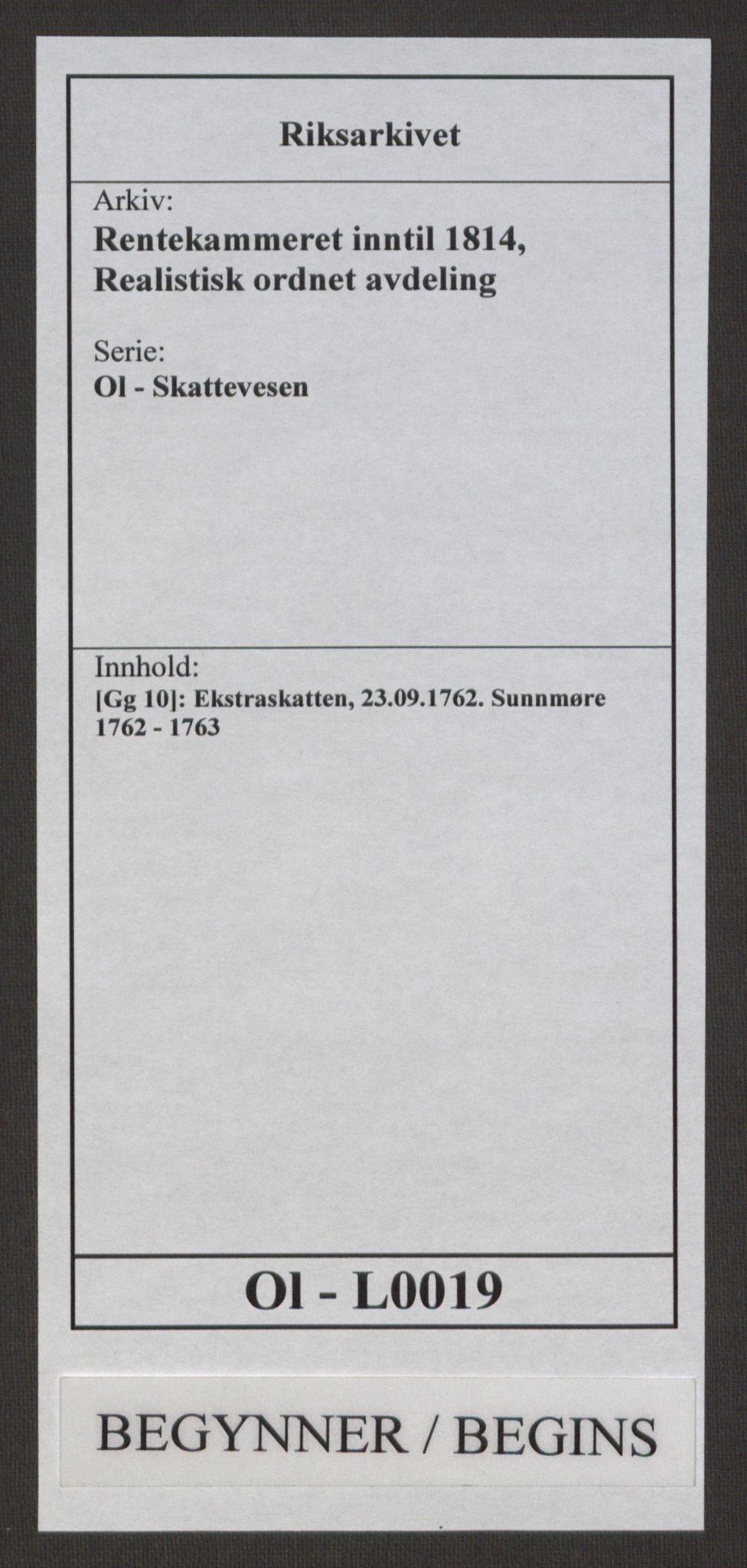 RA, Rentekammeret inntil 1814, Realistisk ordnet avdeling, Ol/L0019: [Gg 10]: Ekstraskatten, 23.09.1762. Sunnmøre, 1762-1763, s. 1