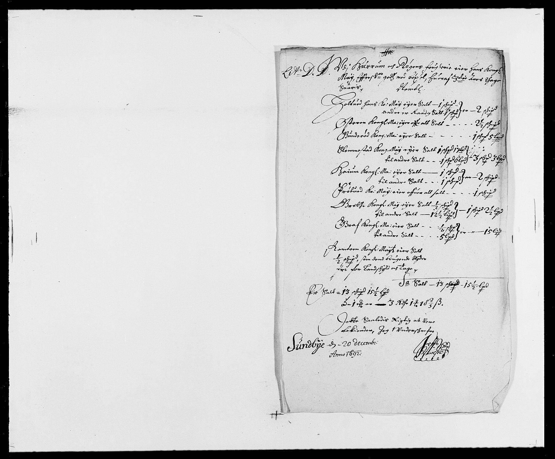 RA, Rentekammeret inntil 1814, Reviderte regnskaper, Fogderegnskap, R29/L1693: Fogderegnskap Hurum og Røyken, 1688-1693, s. 239