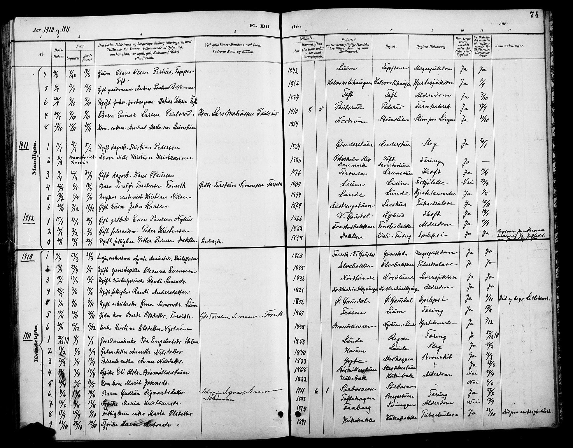 SAH, Østre Gausdal prestekontor, Klokkerbok nr. 3, 1894-1915, s. 74